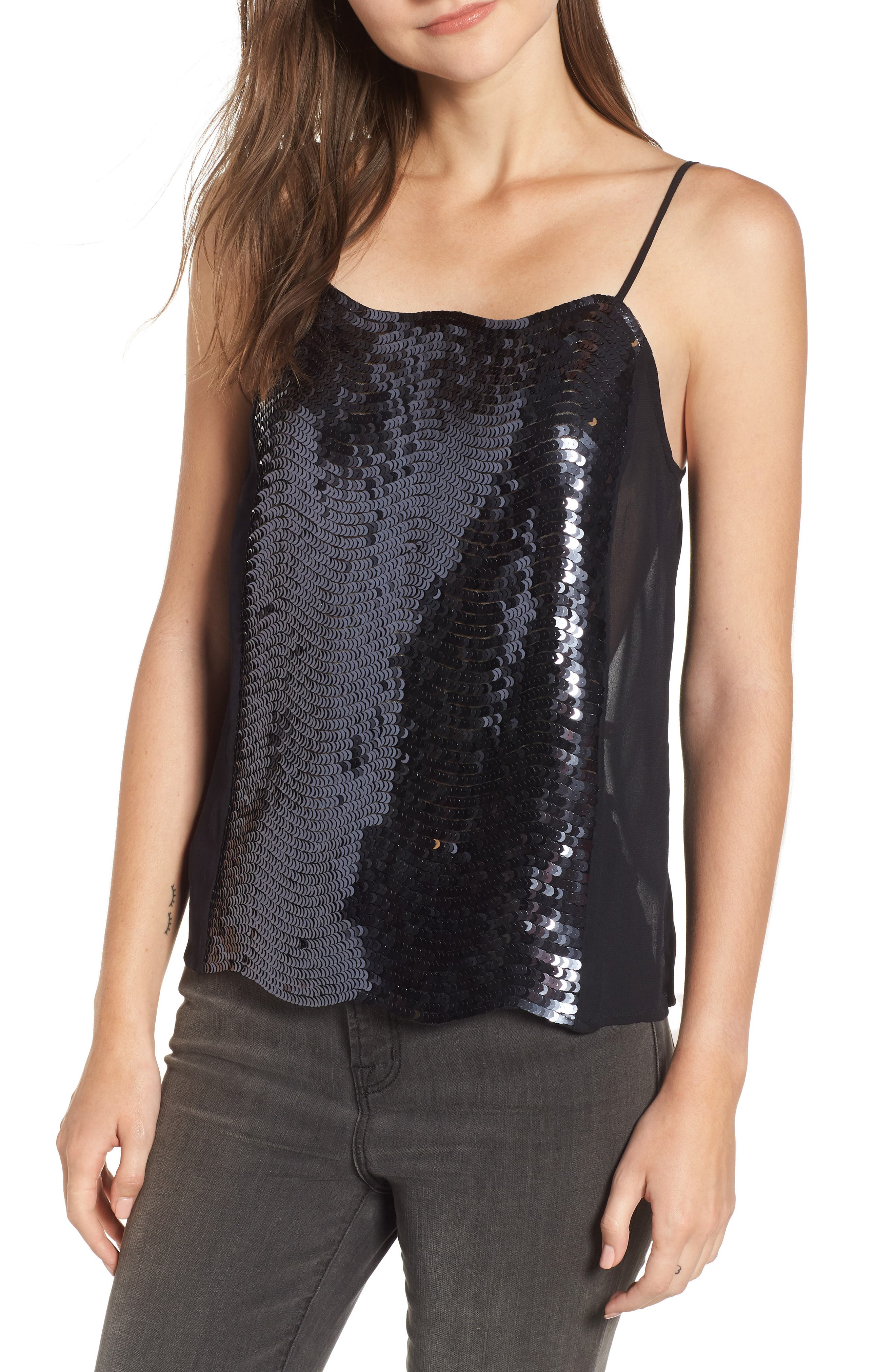 Sequin Camisole,                             Main thumbnail 1, color,                             BLACK- NAVY SEQUIN COMBO