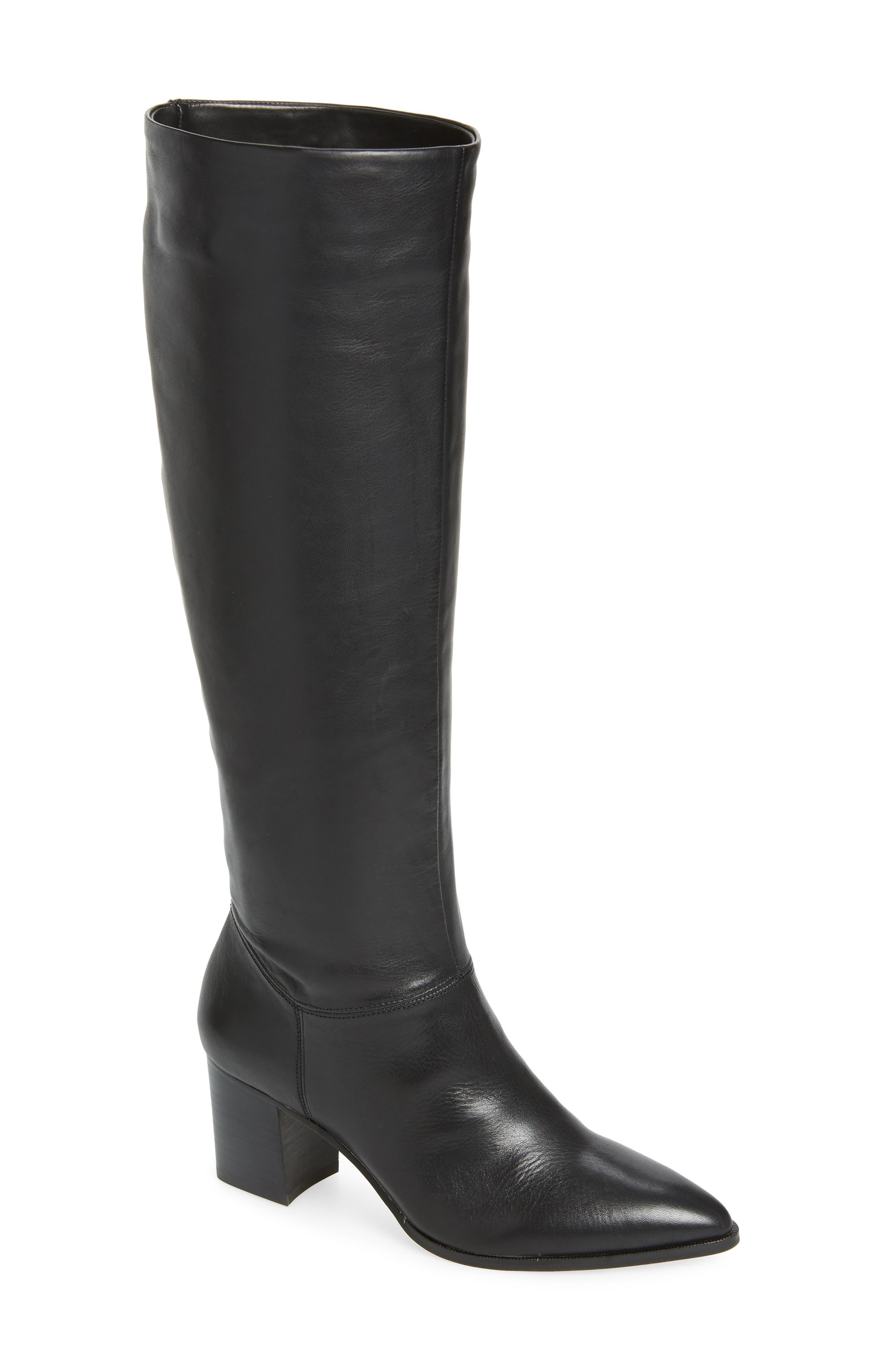 Danilynn Knee High Boot,                             Main thumbnail 1, color,                             BLACK LEATHER