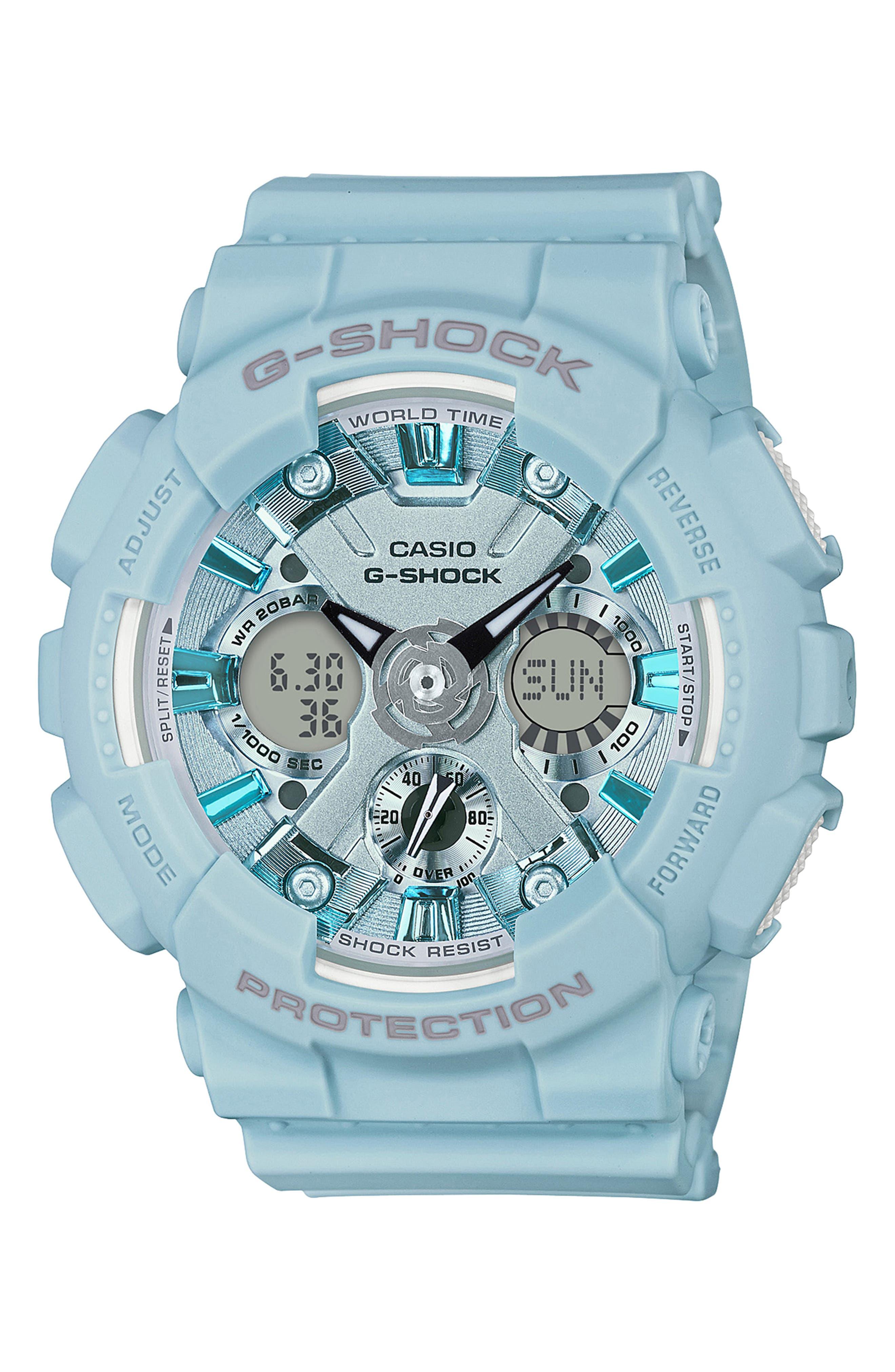 G-Shock S-Series Ana-Digi Resin Watch, 46mm,                         Main,                         color, BLUE