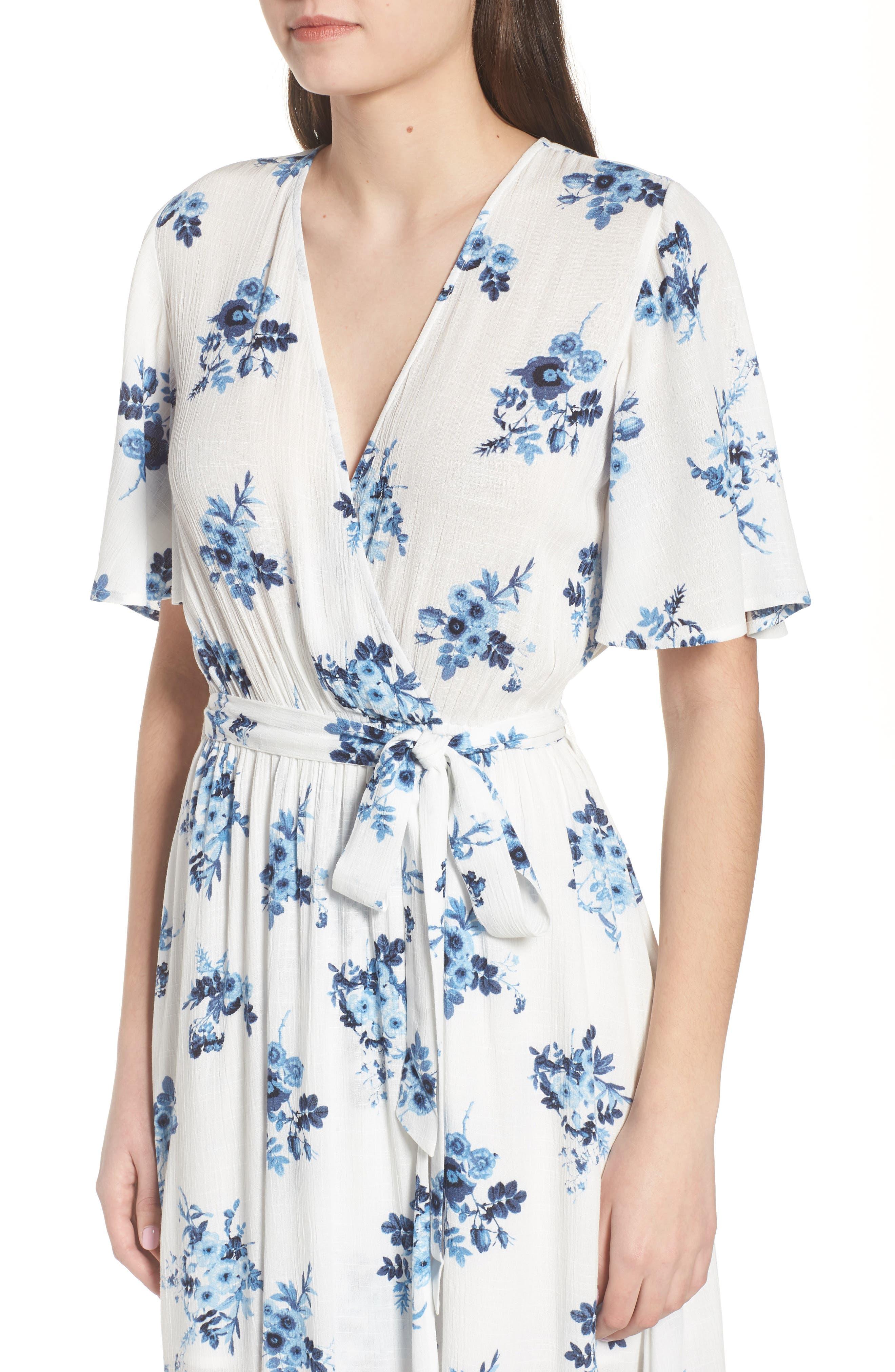 Floral Midi Wrap Dress,                             Alternate thumbnail 4, color,