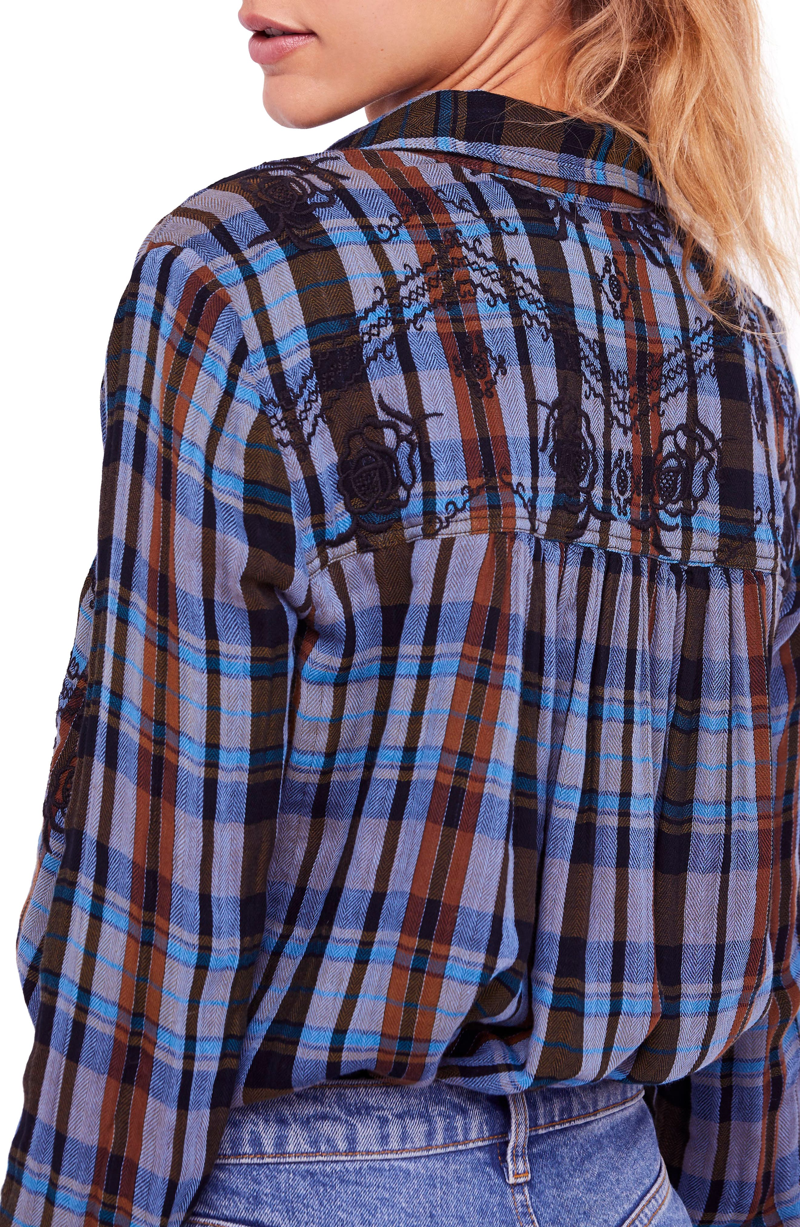 FREE PEOPLE,                             Magical Plaid Embroidered Shirt,                             Alternate thumbnail 2, color,                             001