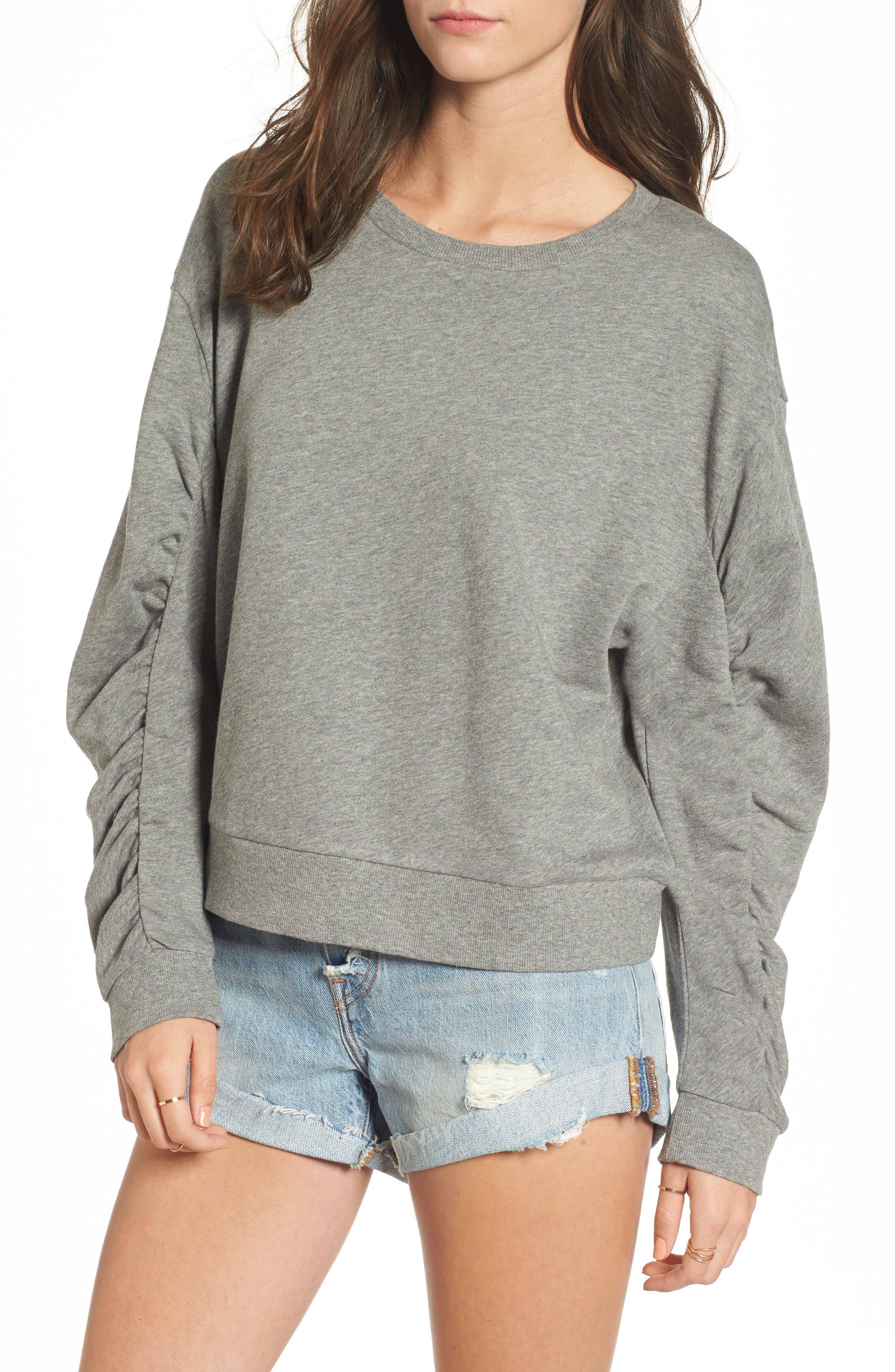 Ruched Sleeve Sweatshirt,                             Main thumbnail 1, color,                             030