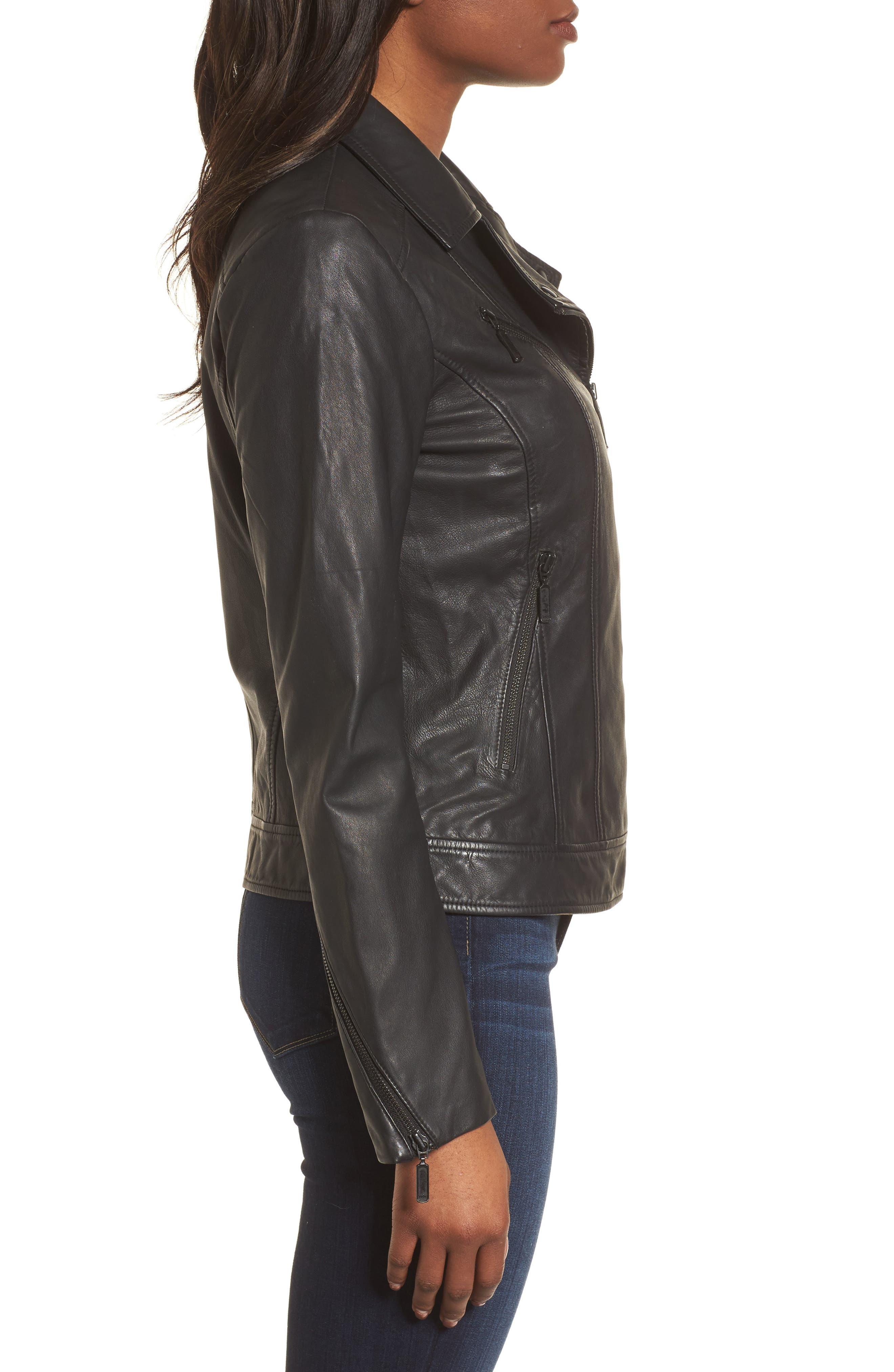 Moto Zip Leather Jacket,                             Alternate thumbnail 3, color,                             001