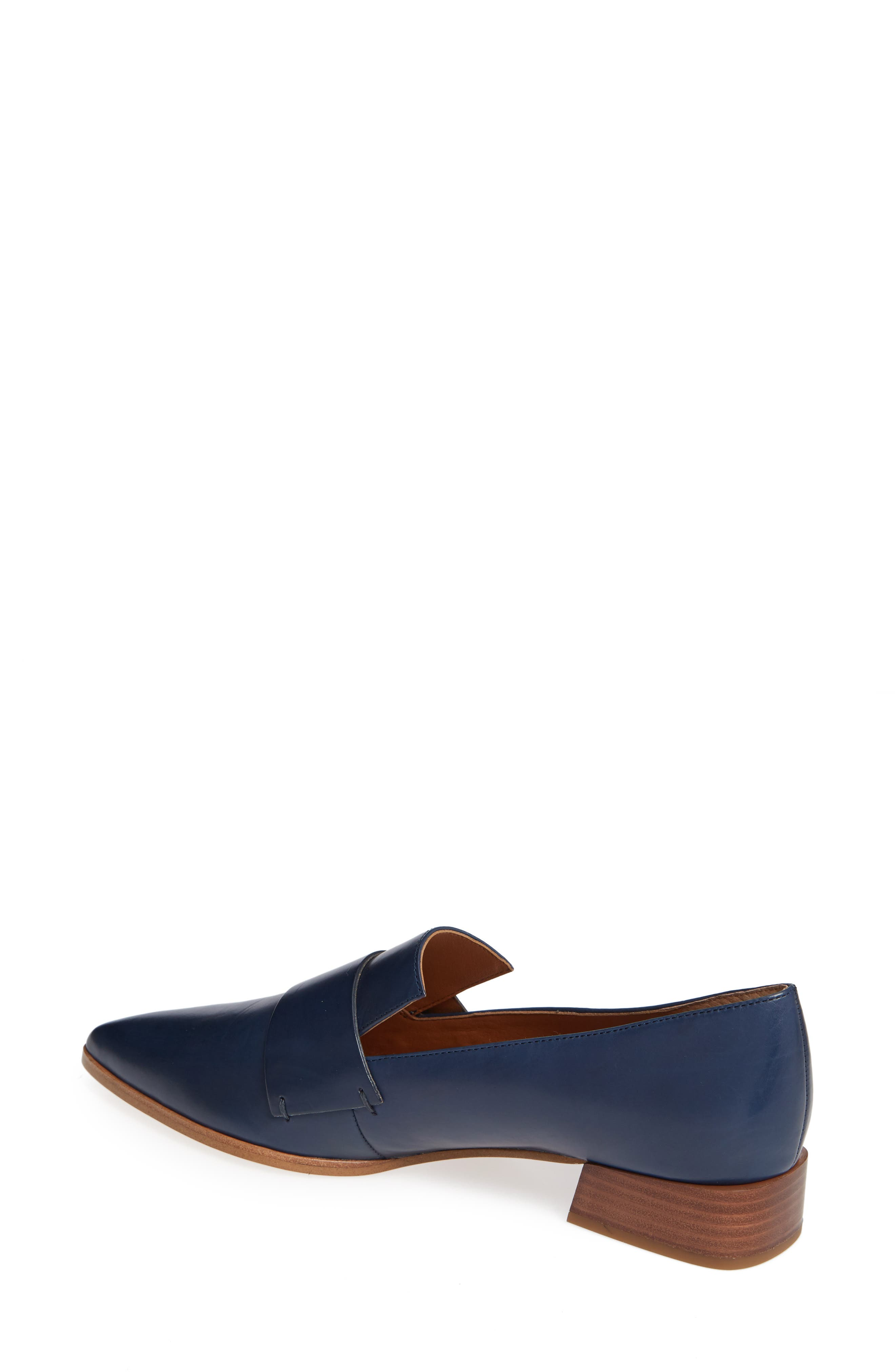Nebby 2 Pointy Toe Loafer,                             Alternate thumbnail 2, color,                             NAVY LEATHER