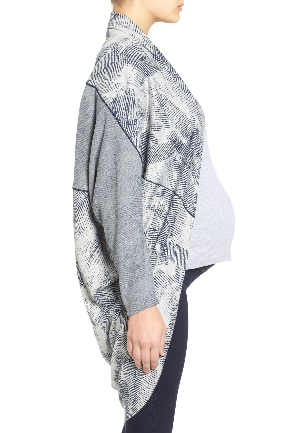 'Meesha' Open Front Maternity Cardigan,                             Alternate thumbnail 2, color,                             HEATHER GREY/NAVY