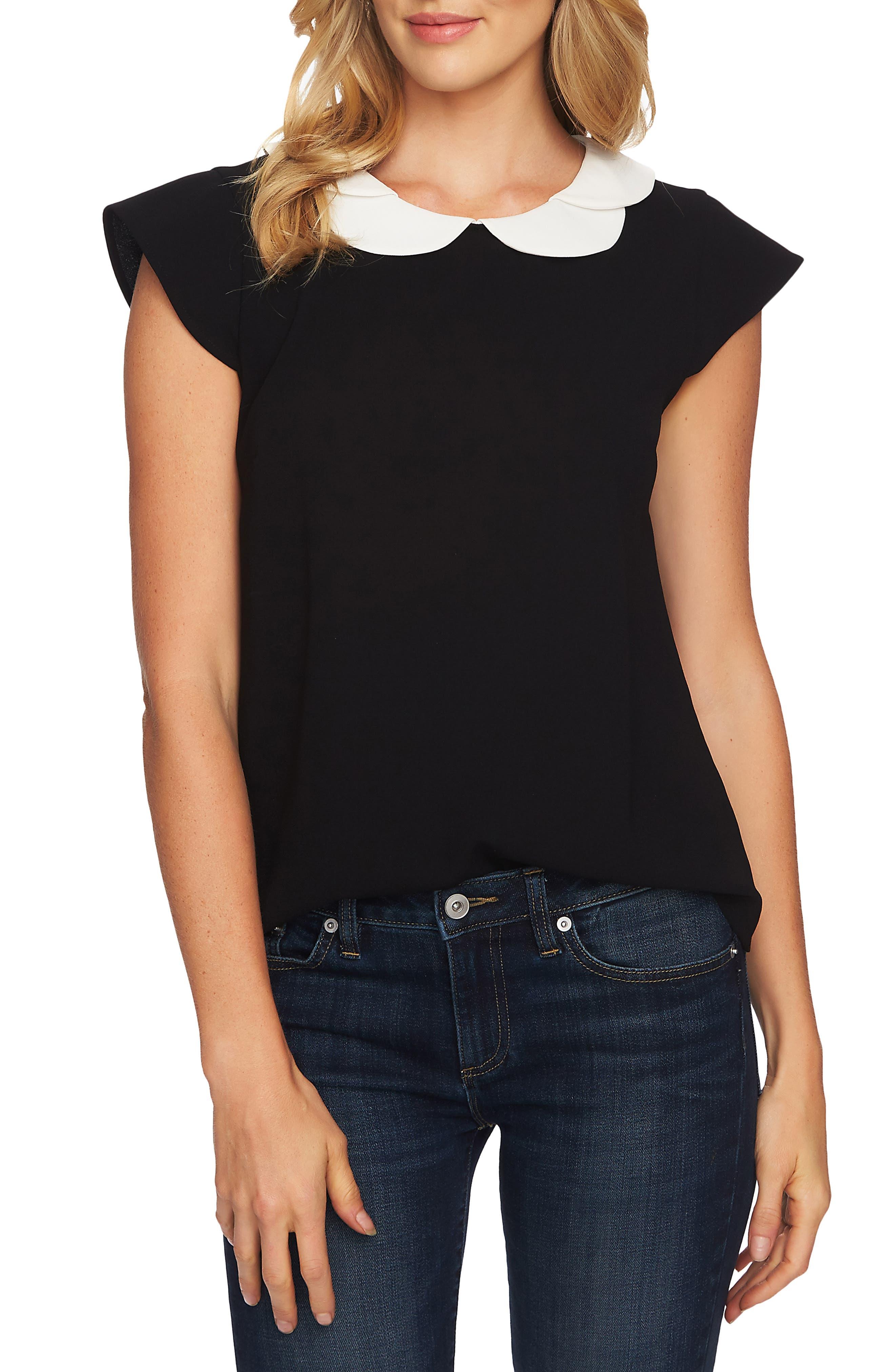 CECE Double Collar Blouse, Main, color, RICH BLACK