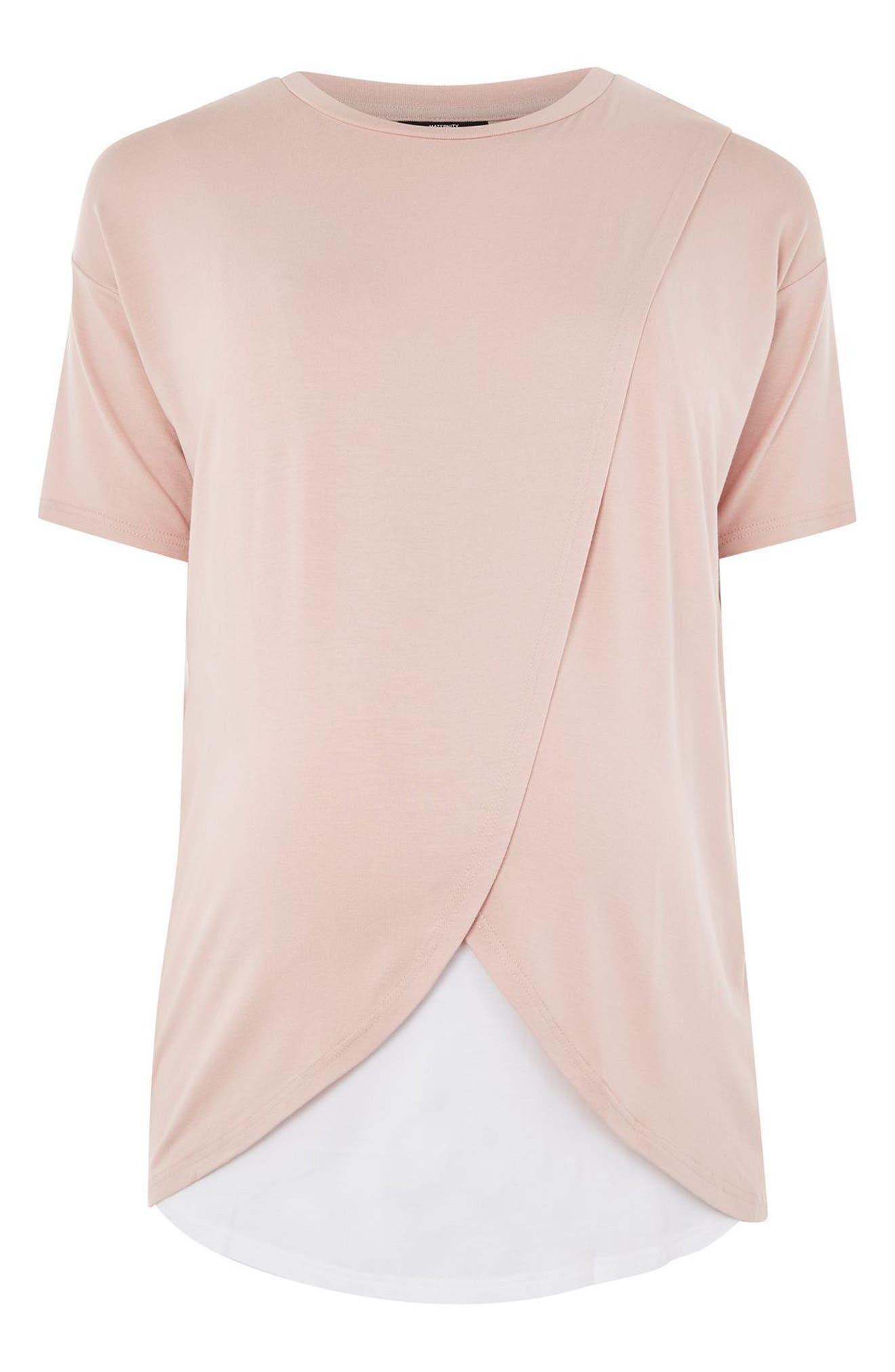 Short Sleeve Drape Maternity/Nursing Tee,                             Alternate thumbnail 4, color,                             650