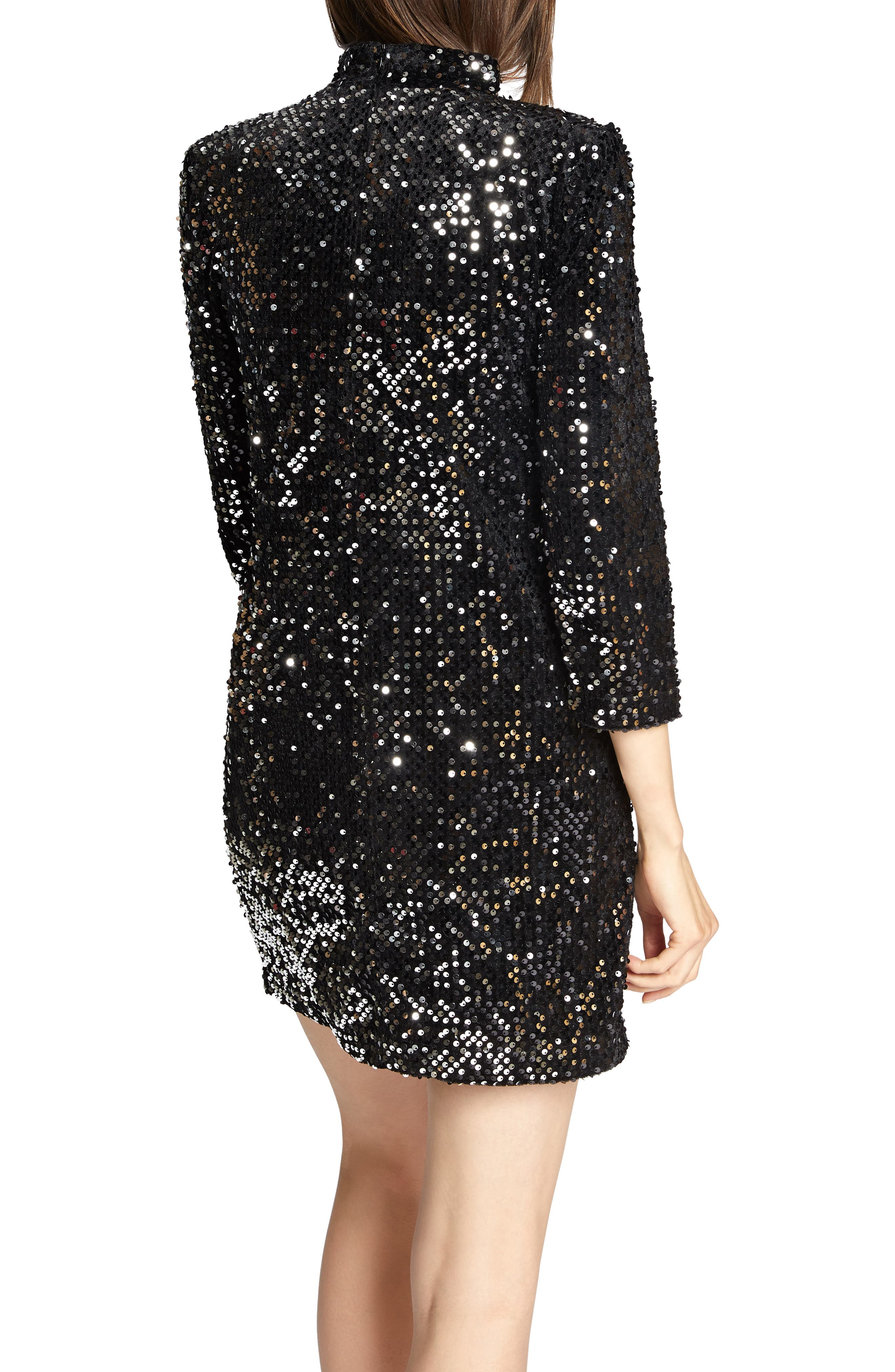 Keep Your Heads Up Sequin Shift Dress,                             Alternate thumbnail 2, color,                             BLACK/ SILVER