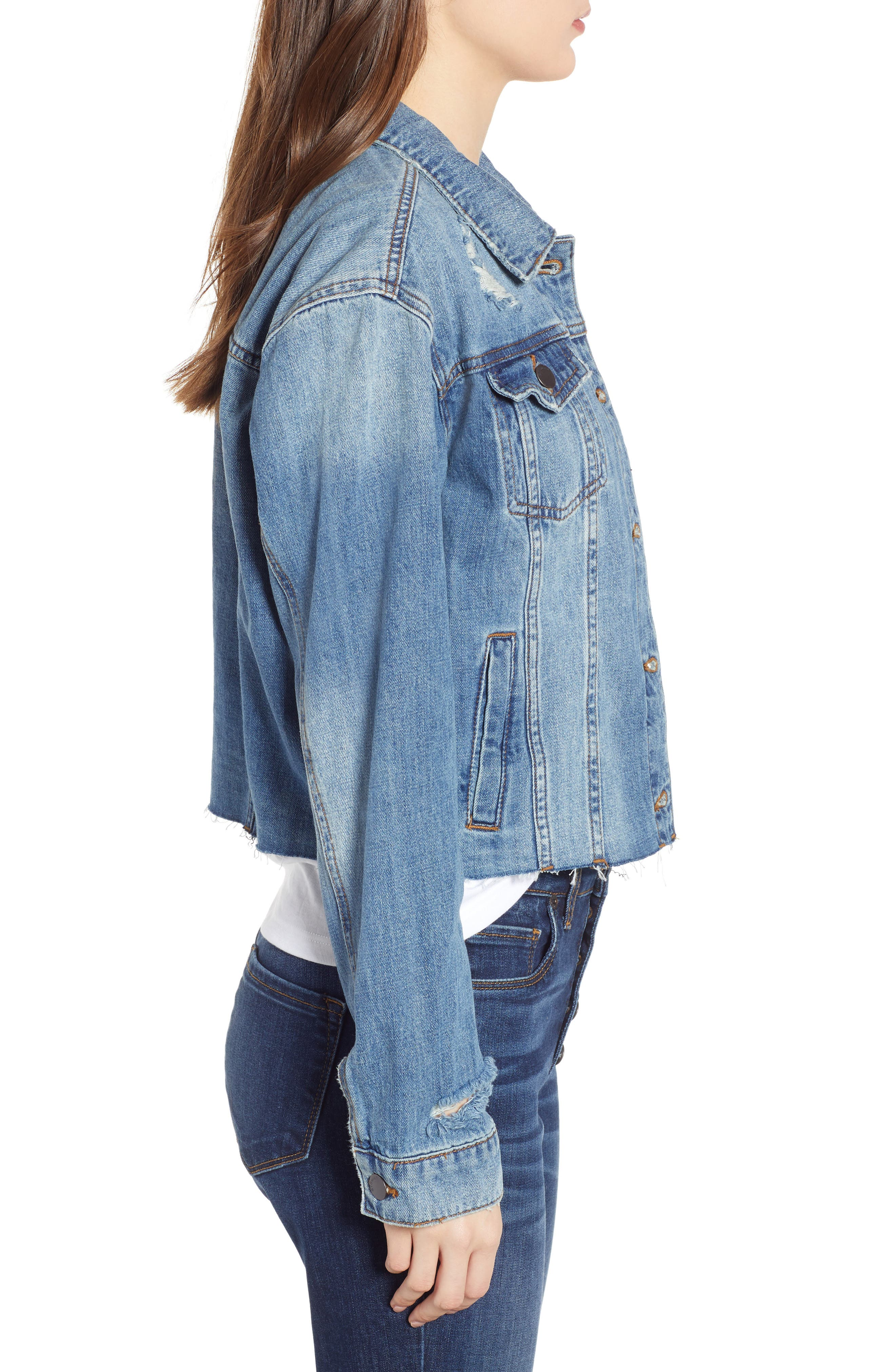 STS BLUE,                             Boyfriend Crop Denim Jacket,                             Alternate thumbnail 3, color,                             400