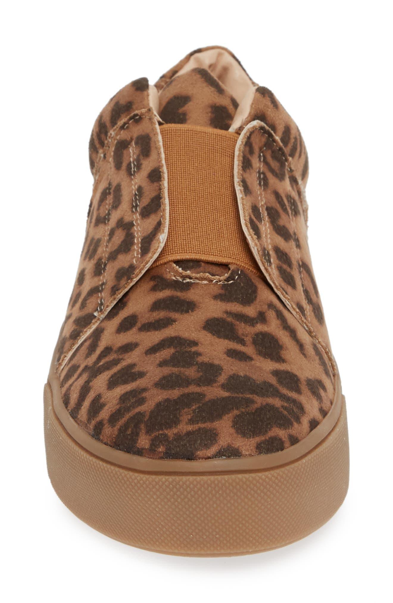 Tamera Slip-On Sneaker,                             Alternate thumbnail 4, color,                             TAN/ LEOPARD MULTI - FABRIC