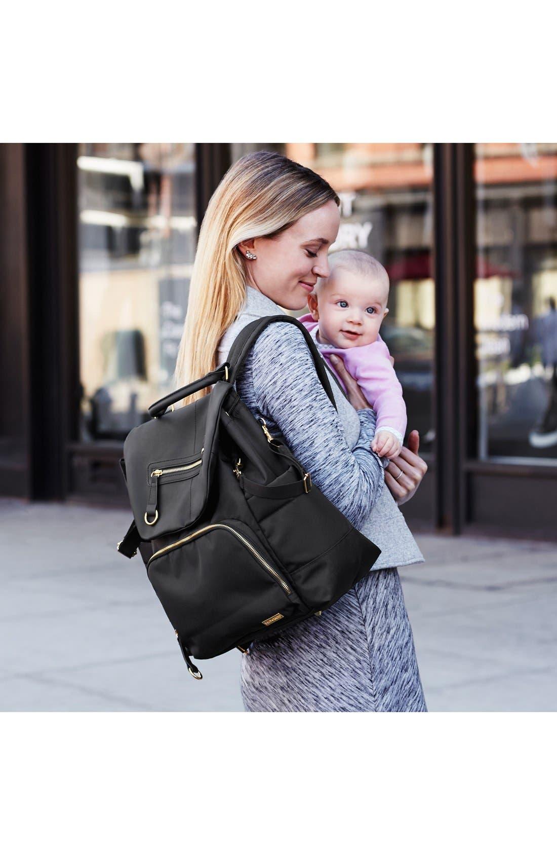 'Chelsea' Diaper Bag Backpack,                             Alternate thumbnail 9, color,                             BLACK