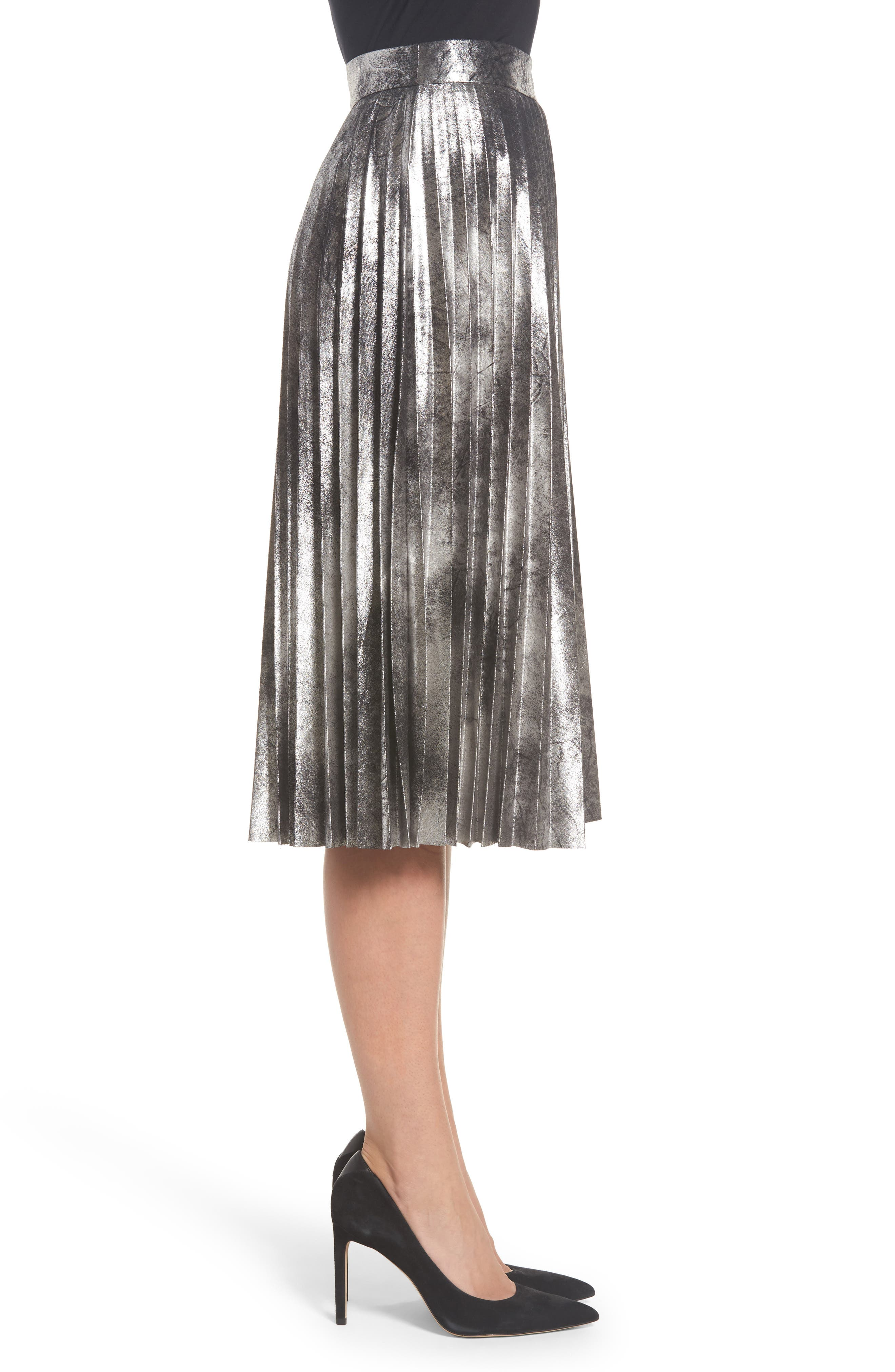 Metallic Pleated Skirt,                             Alternate thumbnail 3, color,                             001