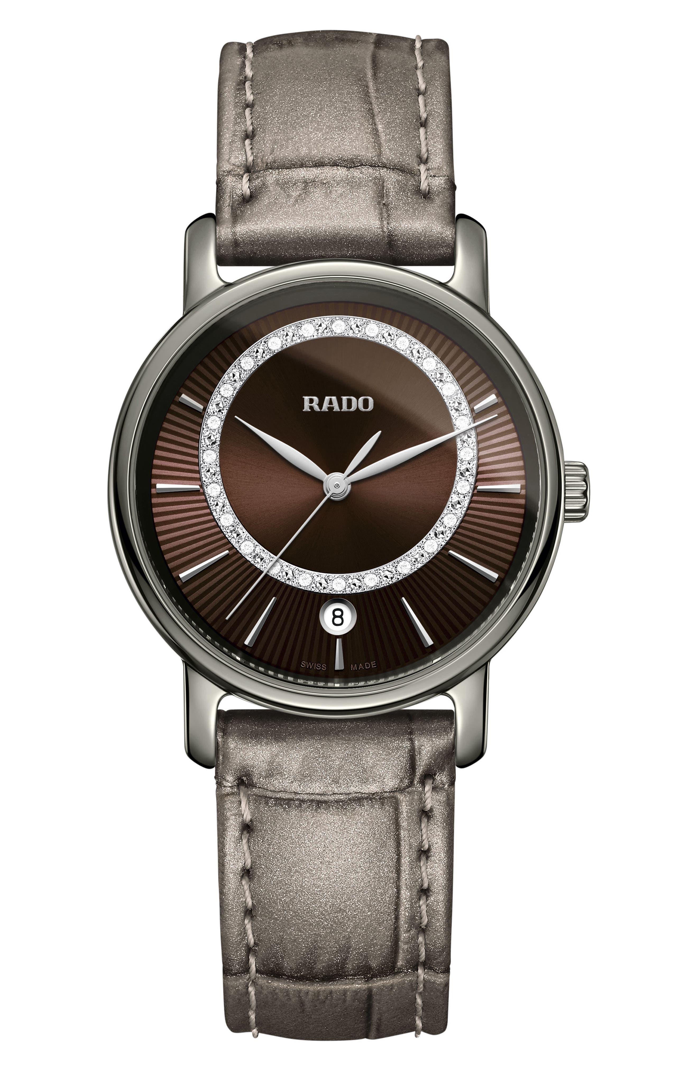 RADO DiaMaster Diamond Leather Strap Watch, 33mm, Main, color, GREY/ BROWN/ GUNMETAL