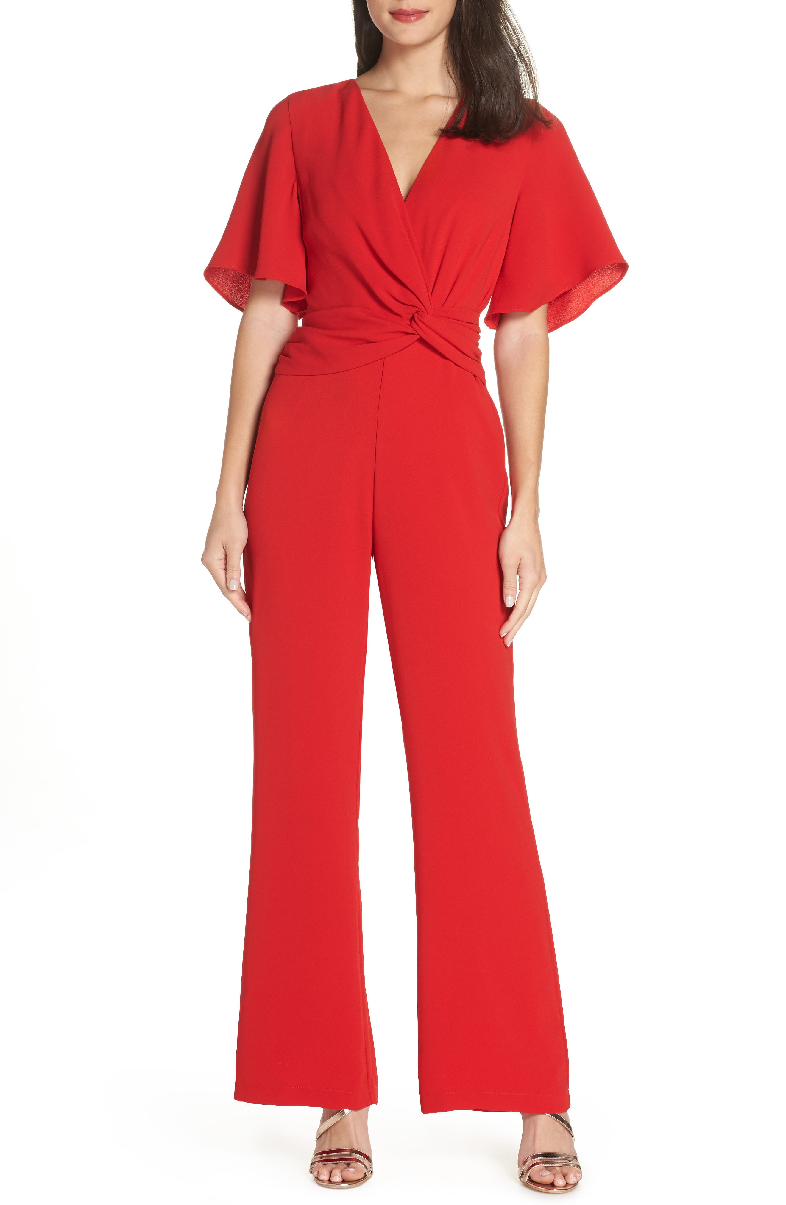 Vintage High Waisted Trousers, Sailor Pants, Jeans Womens Harlyn Twist Front Jumpsuit Size X-Large - Red $148.00 AT vintagedancer.com
