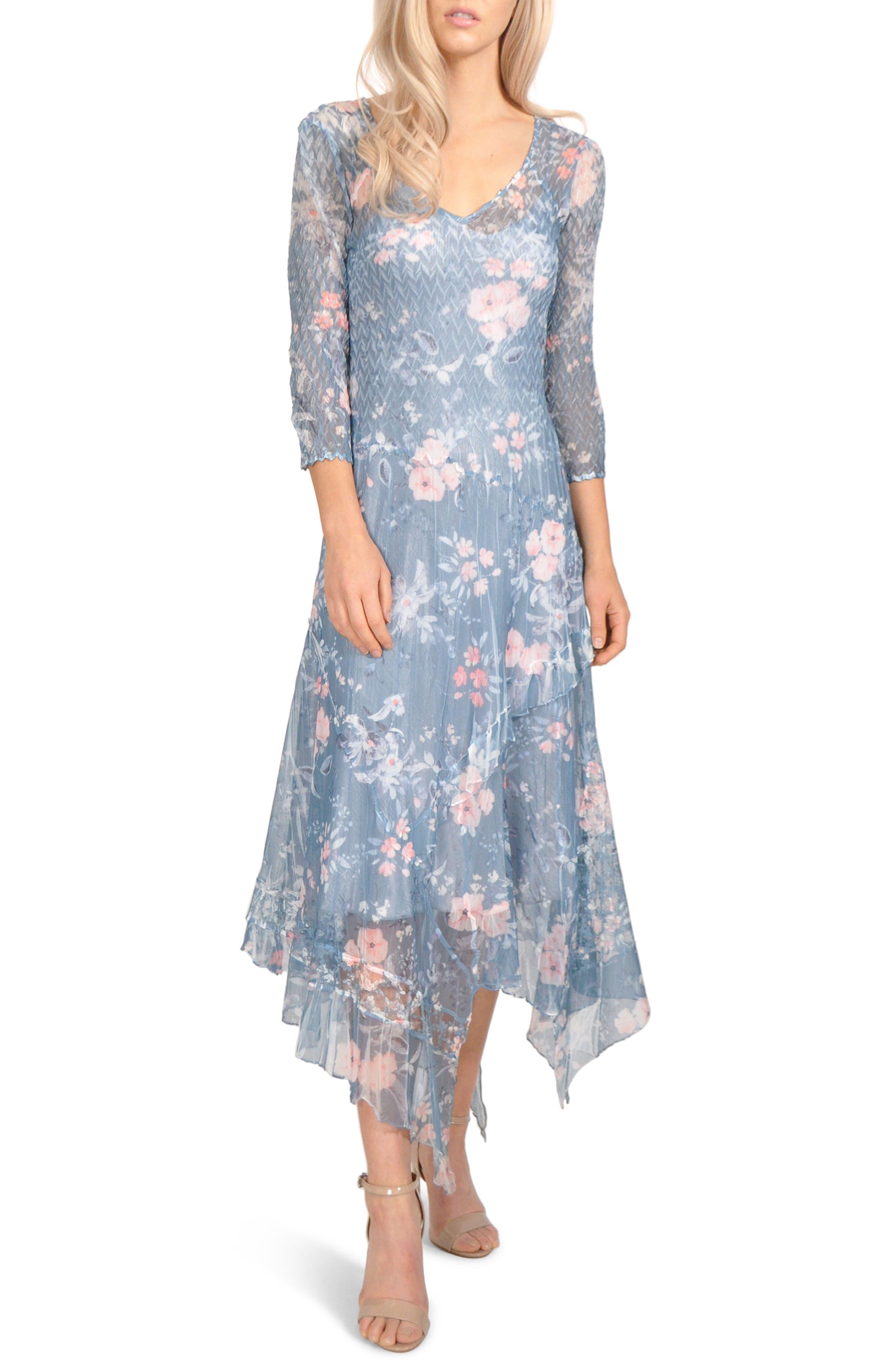 1930s Dresses | 30s Art Deco Dress Komarov Charmeuse  Chiffon Midi Dress Size X-Large P - Blue $220.80 AT vintagedancer.com