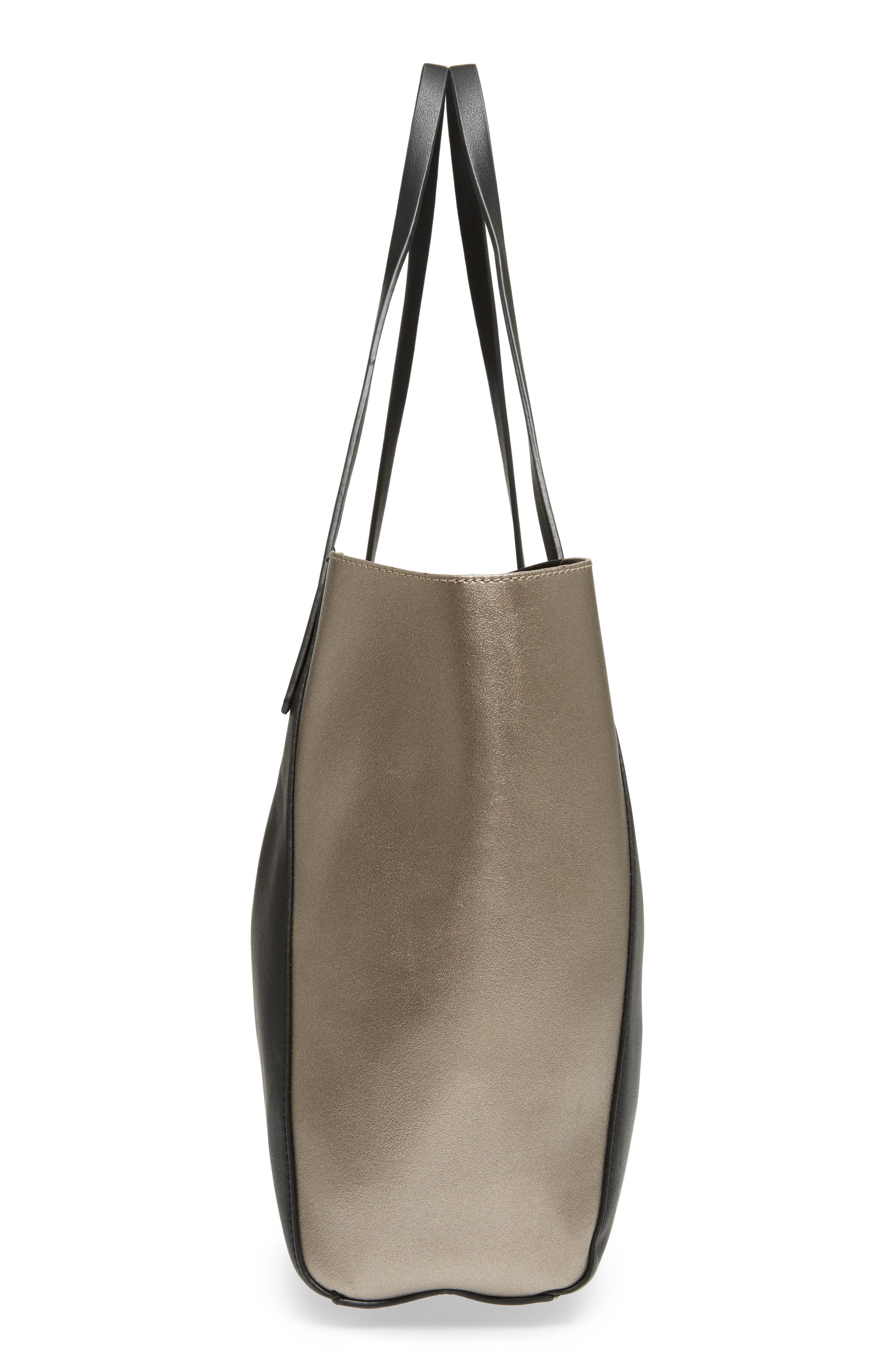 Colorblock Faux Leather Tote,                             Alternate thumbnail 5, color,                             041