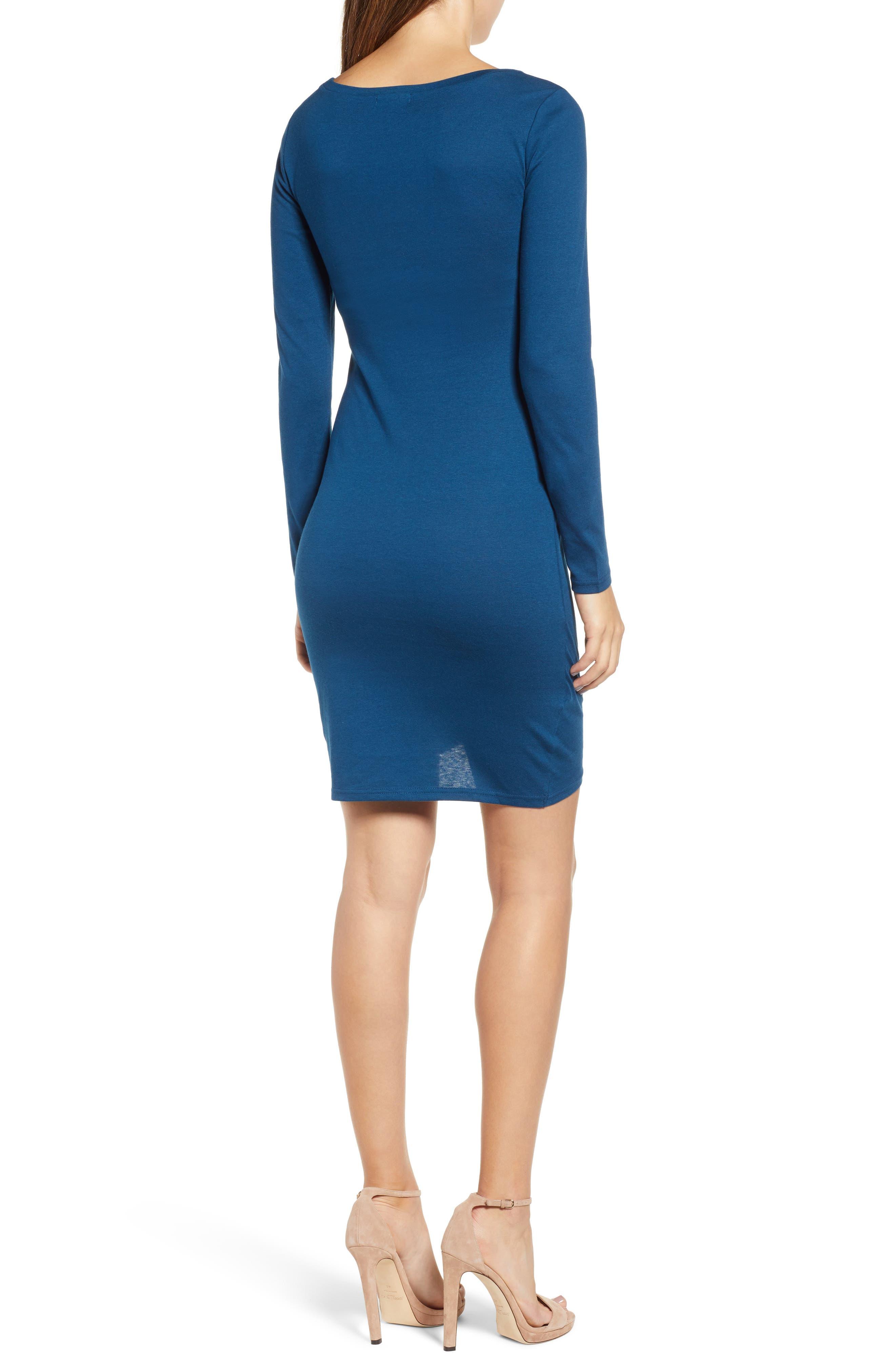 Ruched Long Sleeve Dress,                             Alternate thumbnail 2, color,                             BLUE AURORA