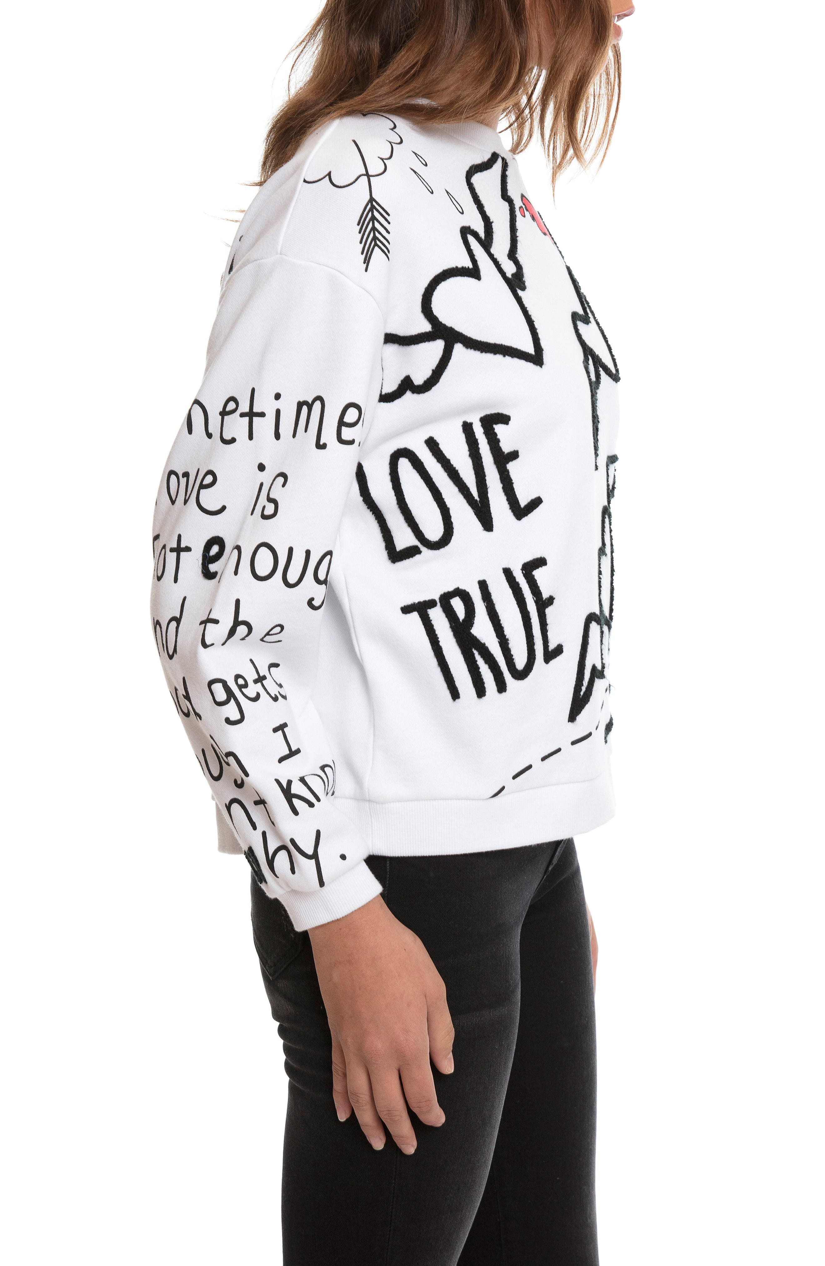 Love Note Sweatshirt,                             Alternate thumbnail 4, color,                             100