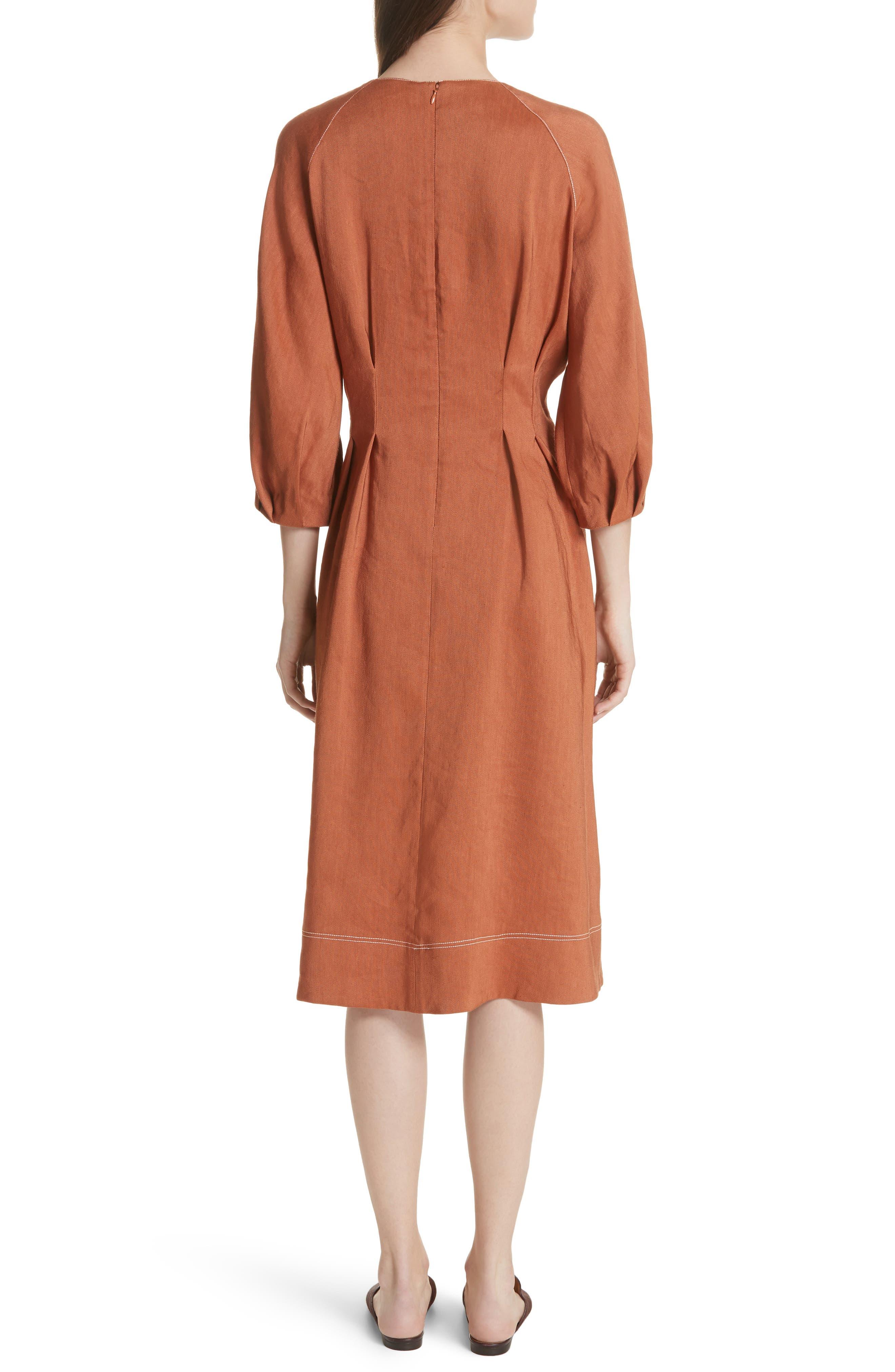 Claudia Linen Blend Midi Dress,                             Alternate thumbnail 2, color,                             821