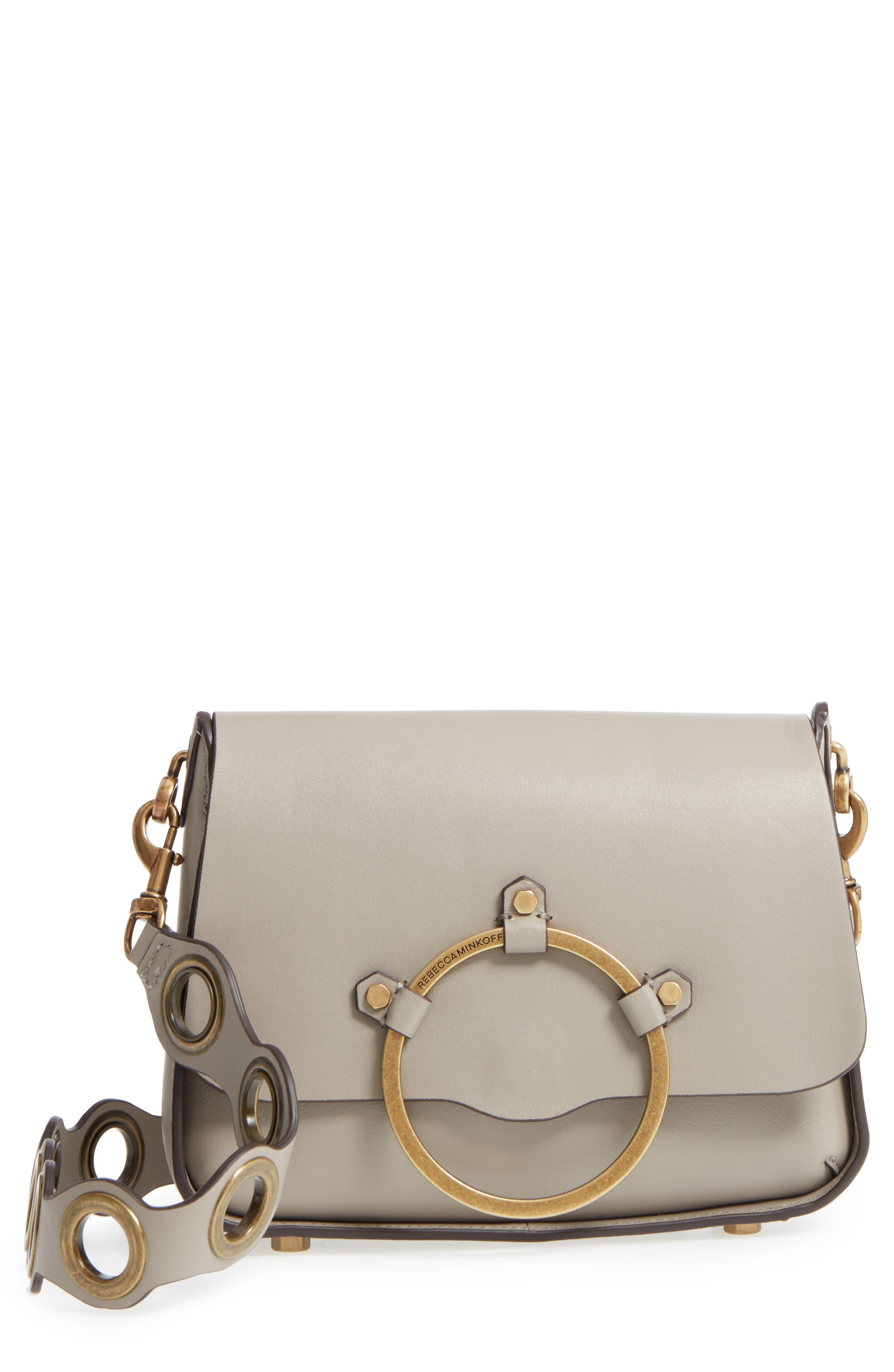 Ring Leather Shoulder Bag,                             Main thumbnail 2, color,