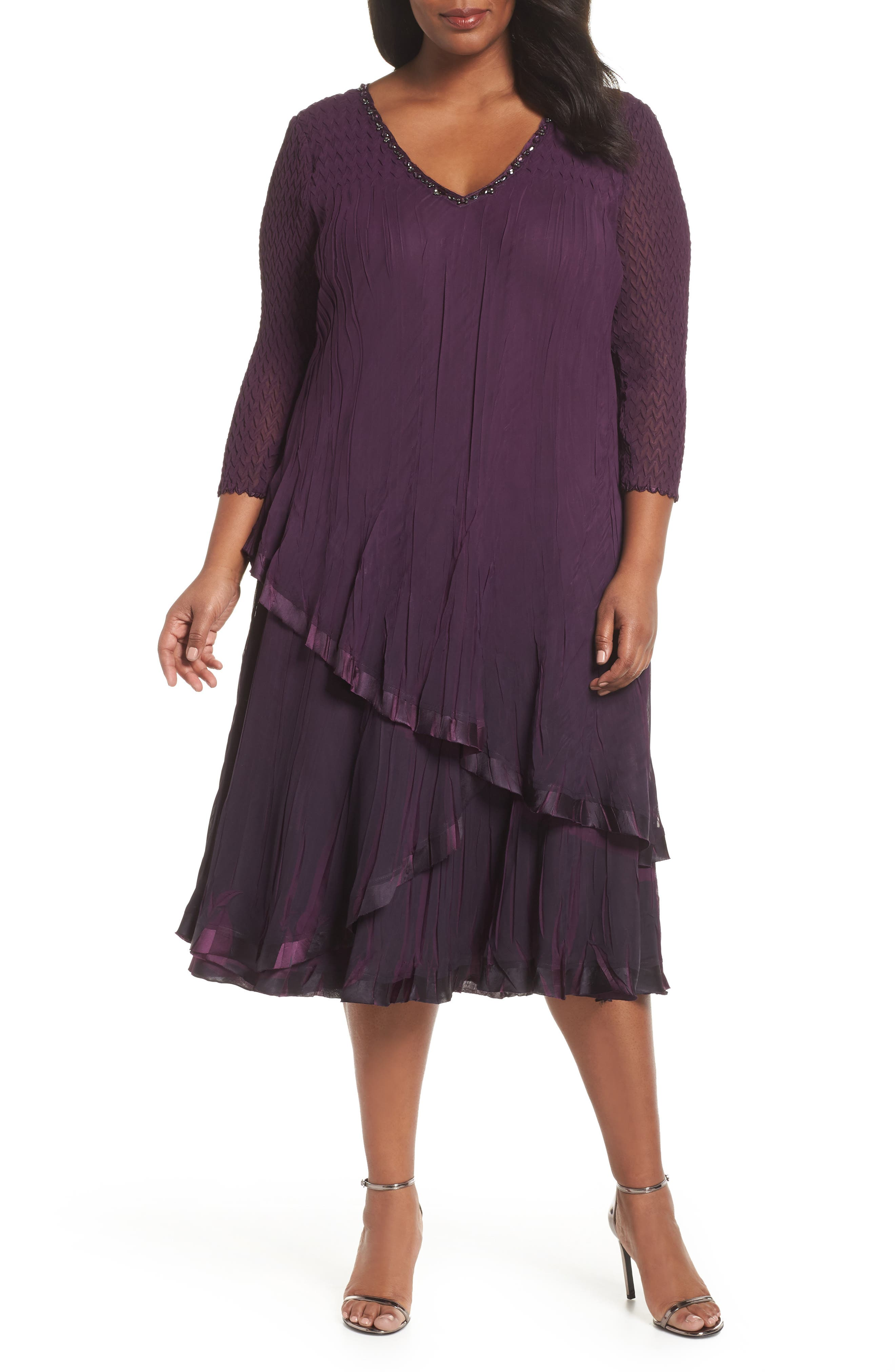 Plus Size Komarov Chiffon Overlay Midi Dress, Purple