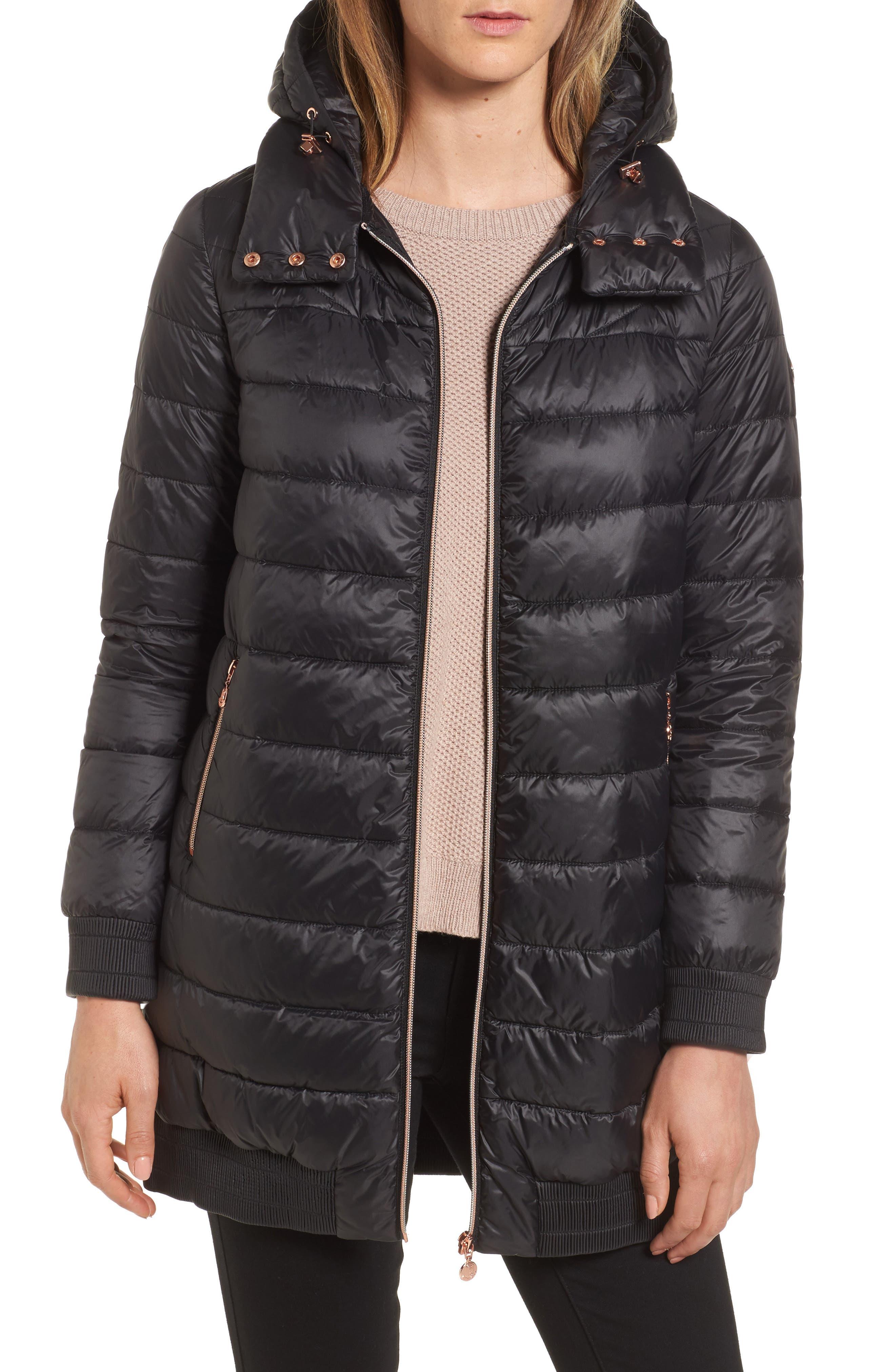 Hooded Packable Down & PrimaLoft<sup>®</sup> Coat,                         Main,                         color, 001