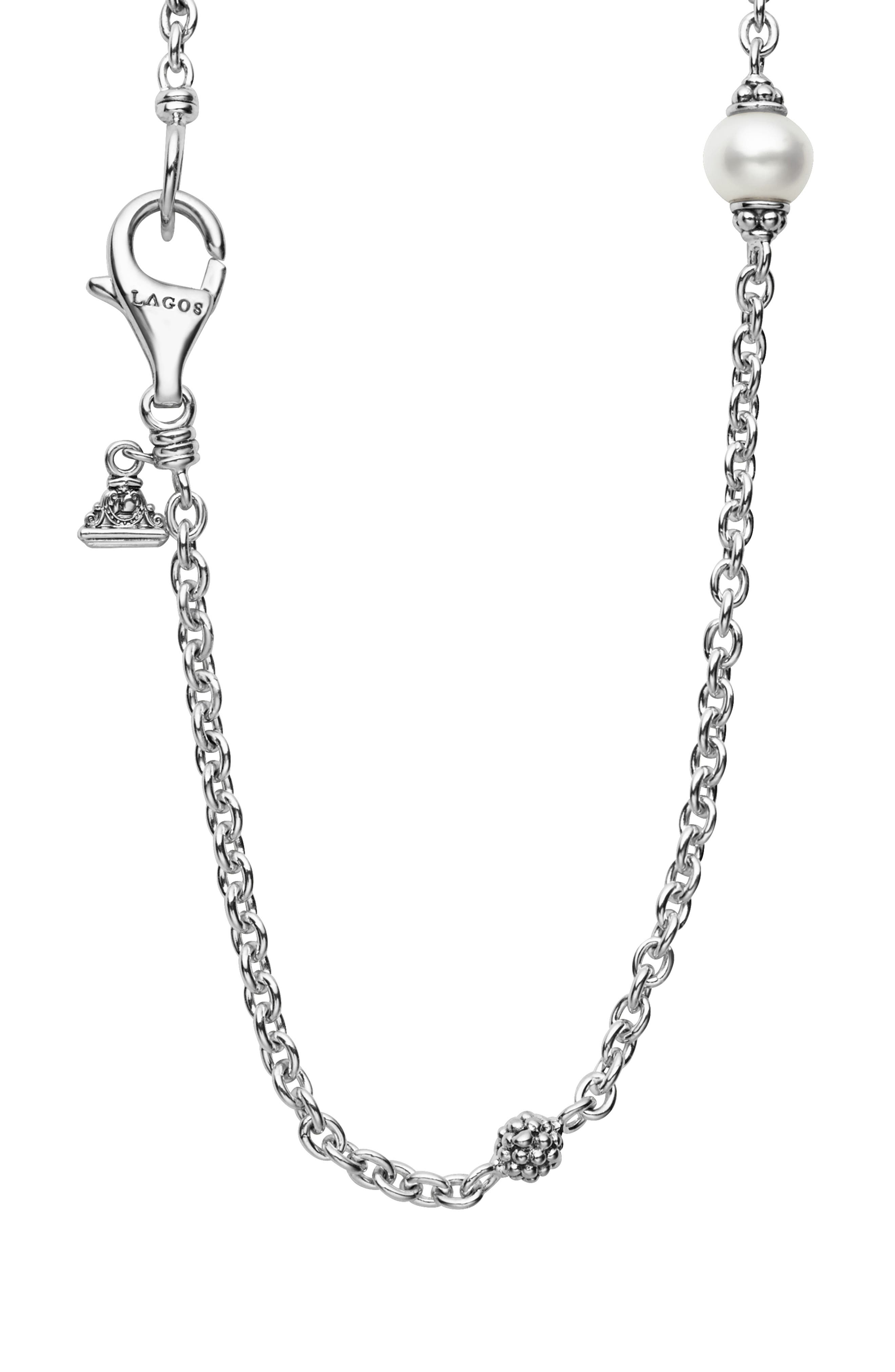 LAGOS,                             'Luna' Double Strand Pearl Station Necklace,                             Alternate thumbnail 3, color,                             SILVER/ PEARL