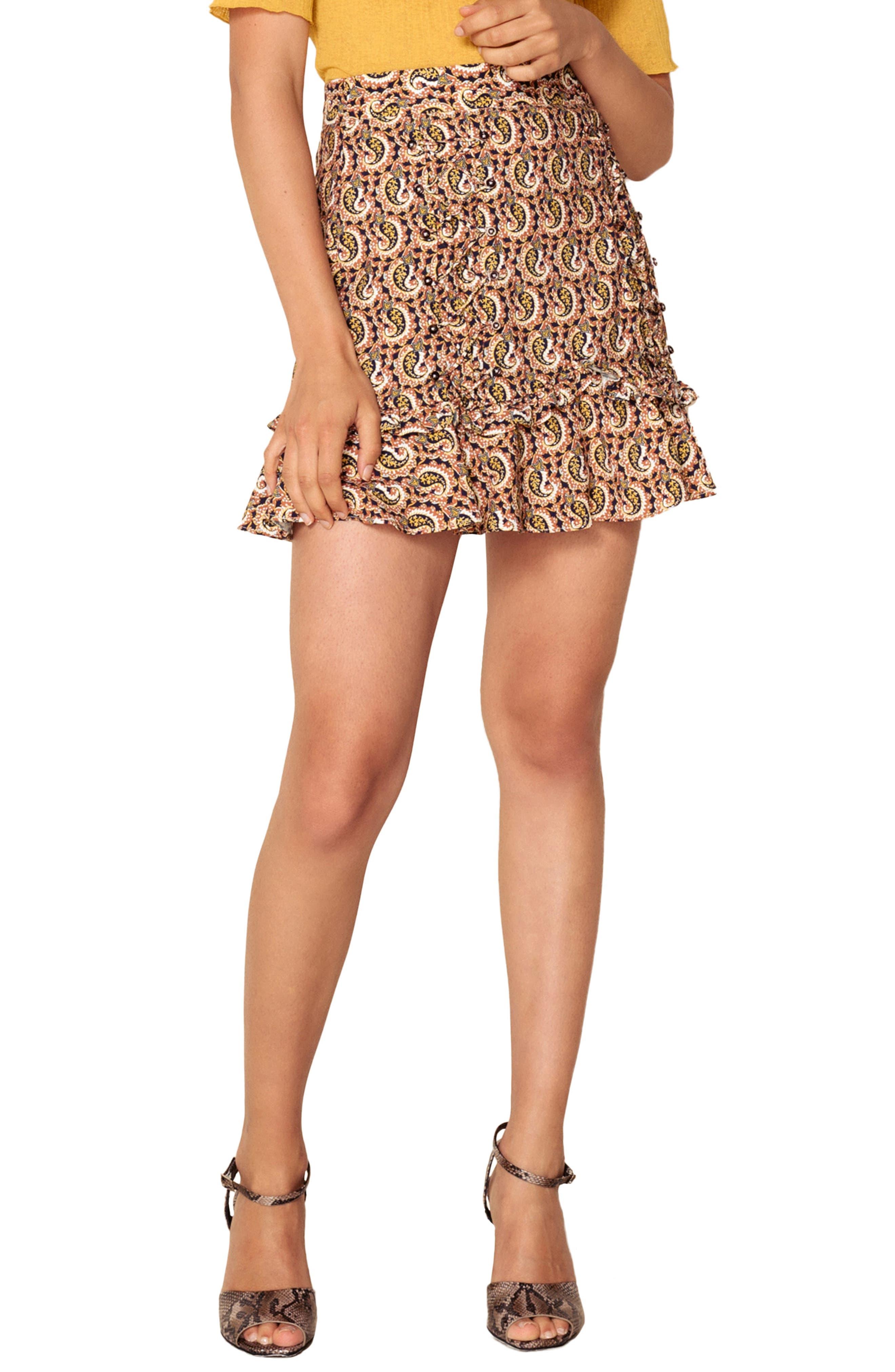 Alix Paisley Skirt,                         Main,                         color, OCHRE IDOL