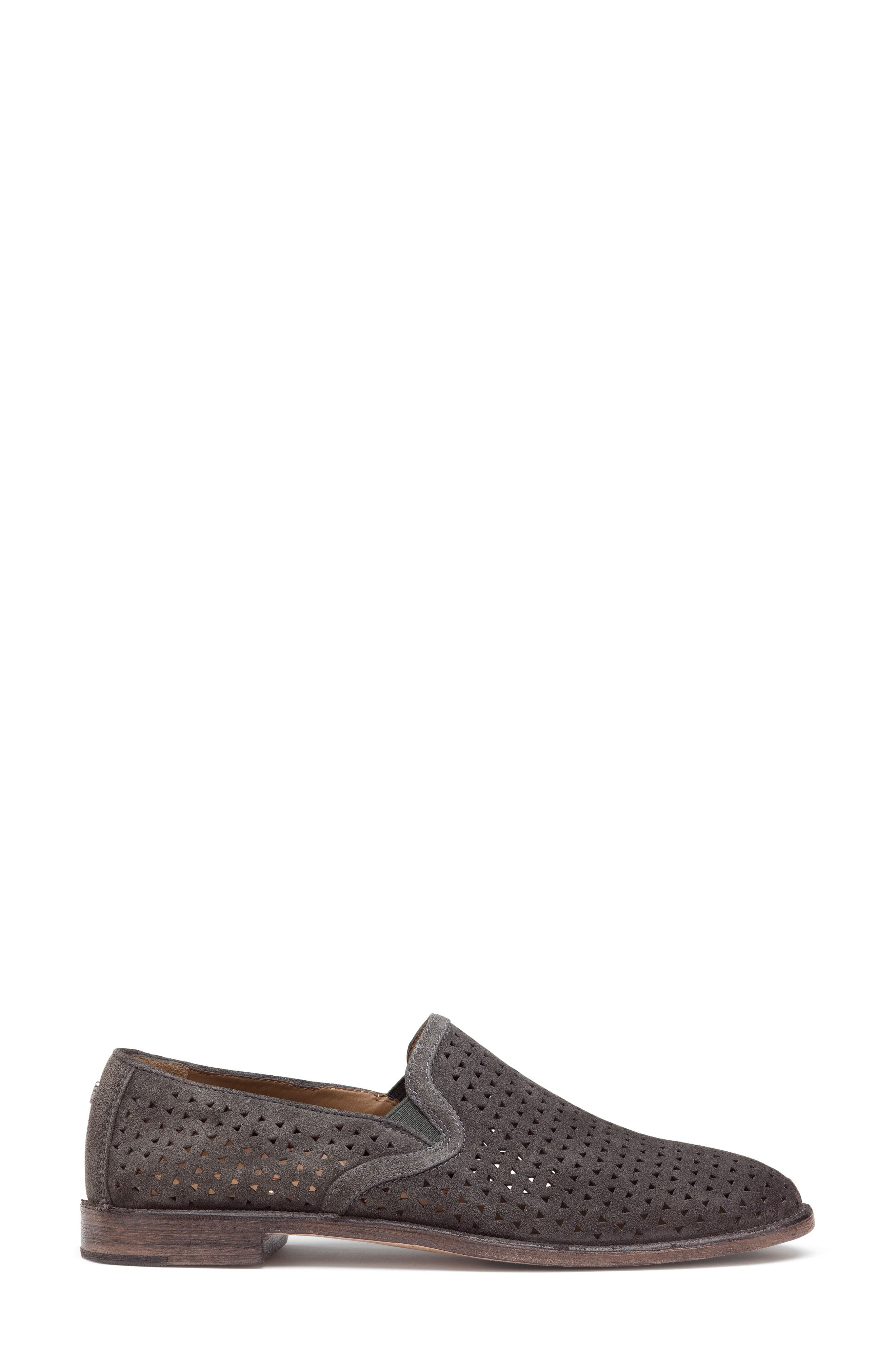Ali Perforated Loafer,                             Alternate thumbnail 3, color,                             GREY SUEDE