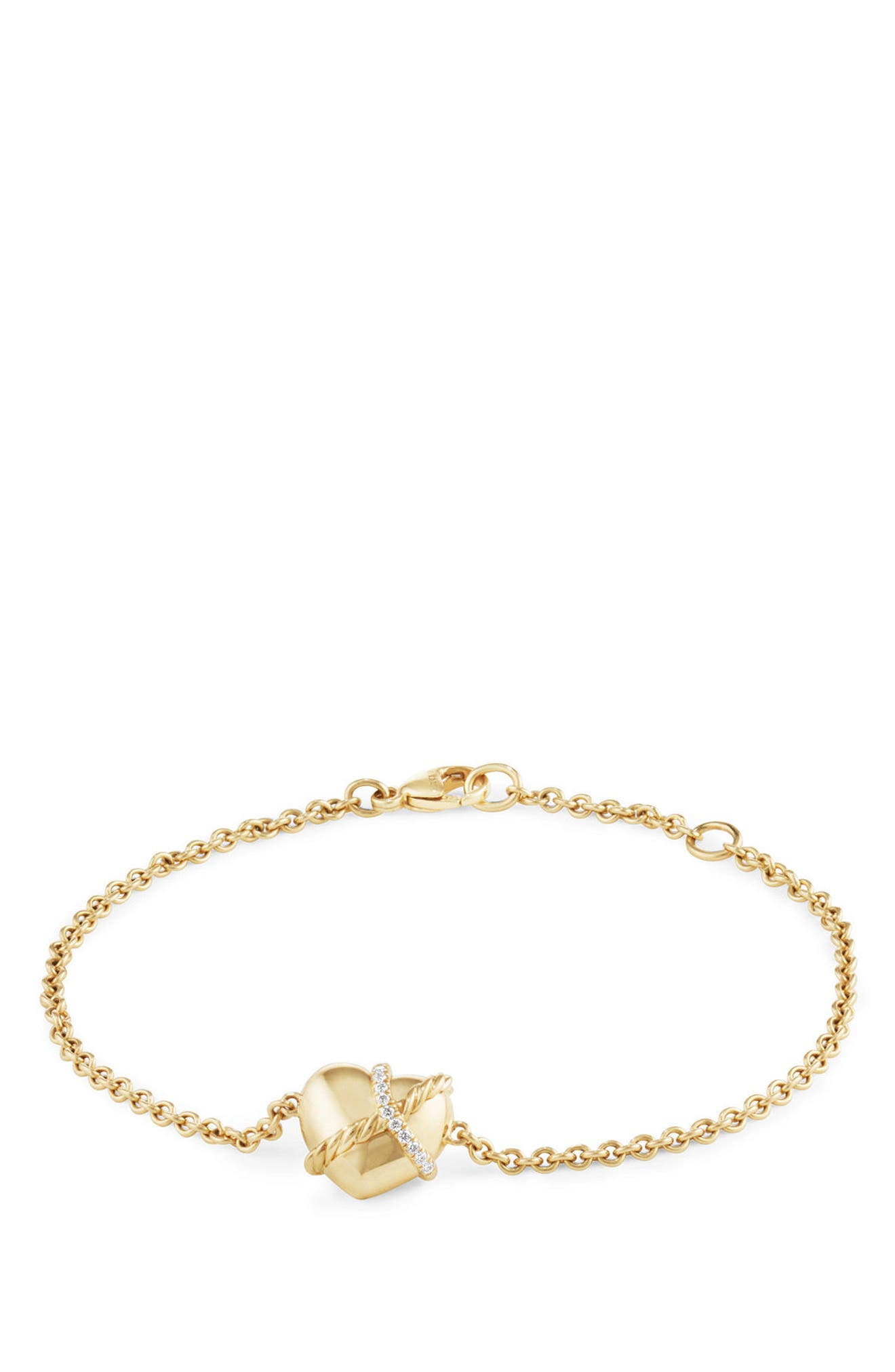 Heart Bracelet in 18K Gold with Diamonds,                             Main thumbnail 1, color,                             YELLOW GOLD/ DIAMOND