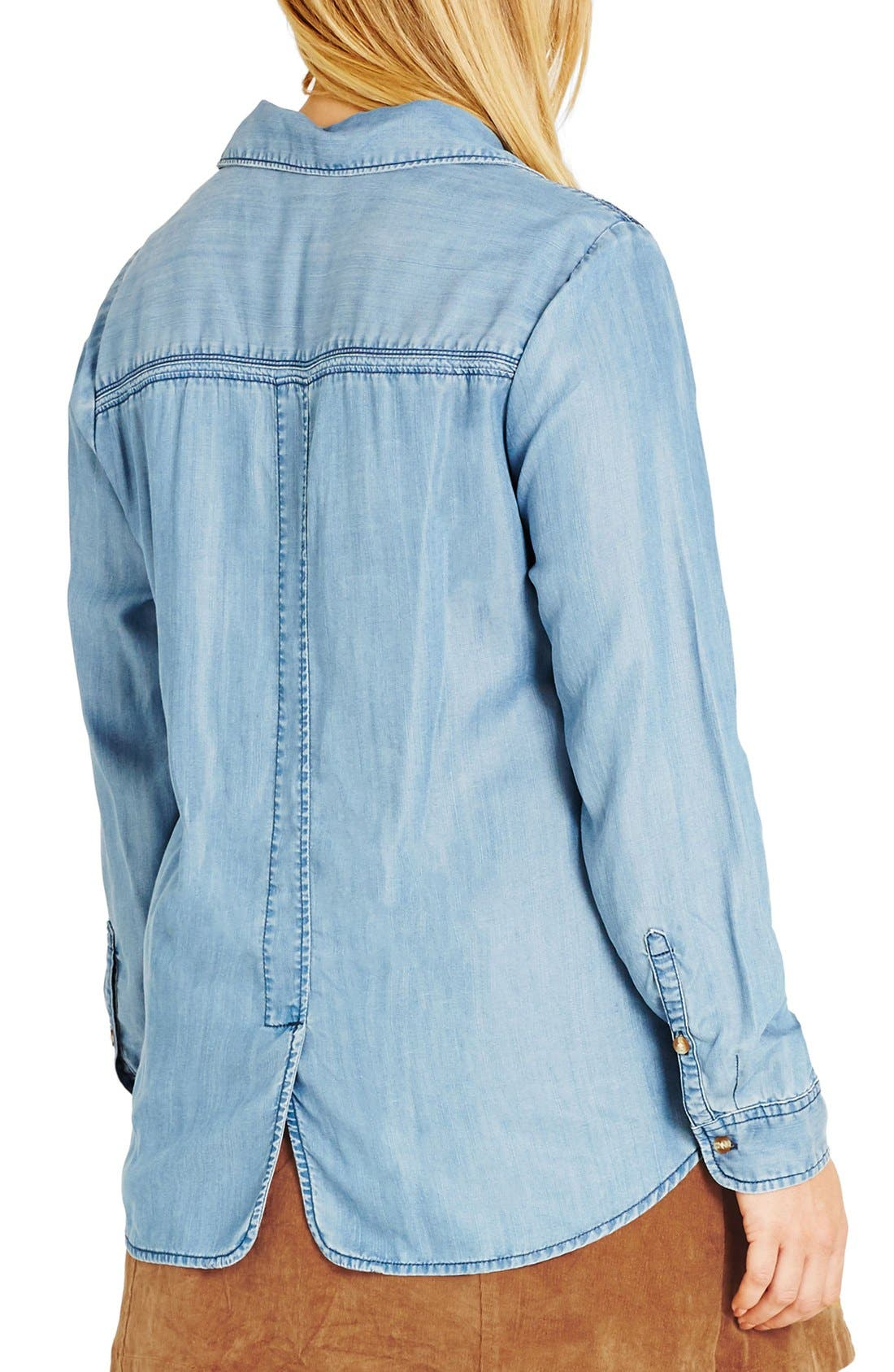 'Rodeo' Embroidered Denim Shirt,                             Alternate thumbnail 3, color,                             409