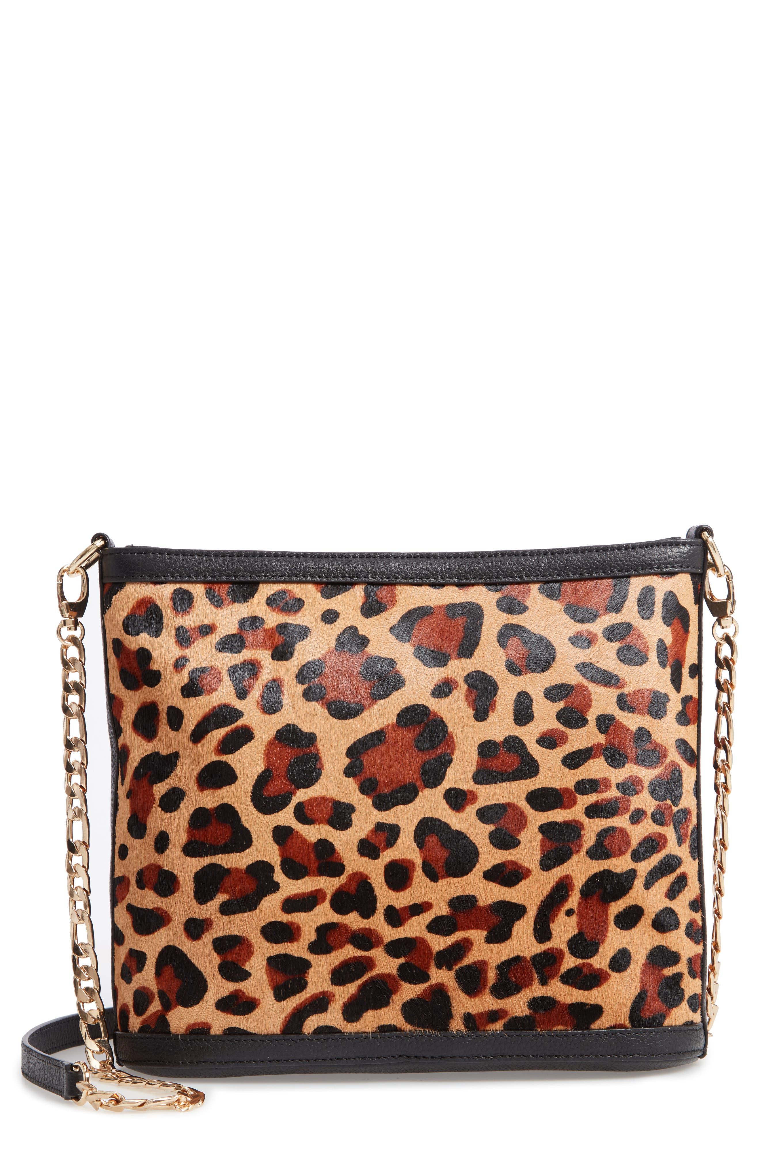 Maribel Genuine Calf Hair Crossbody Bag,                         Main,                         color, NATURAL LEOPARD