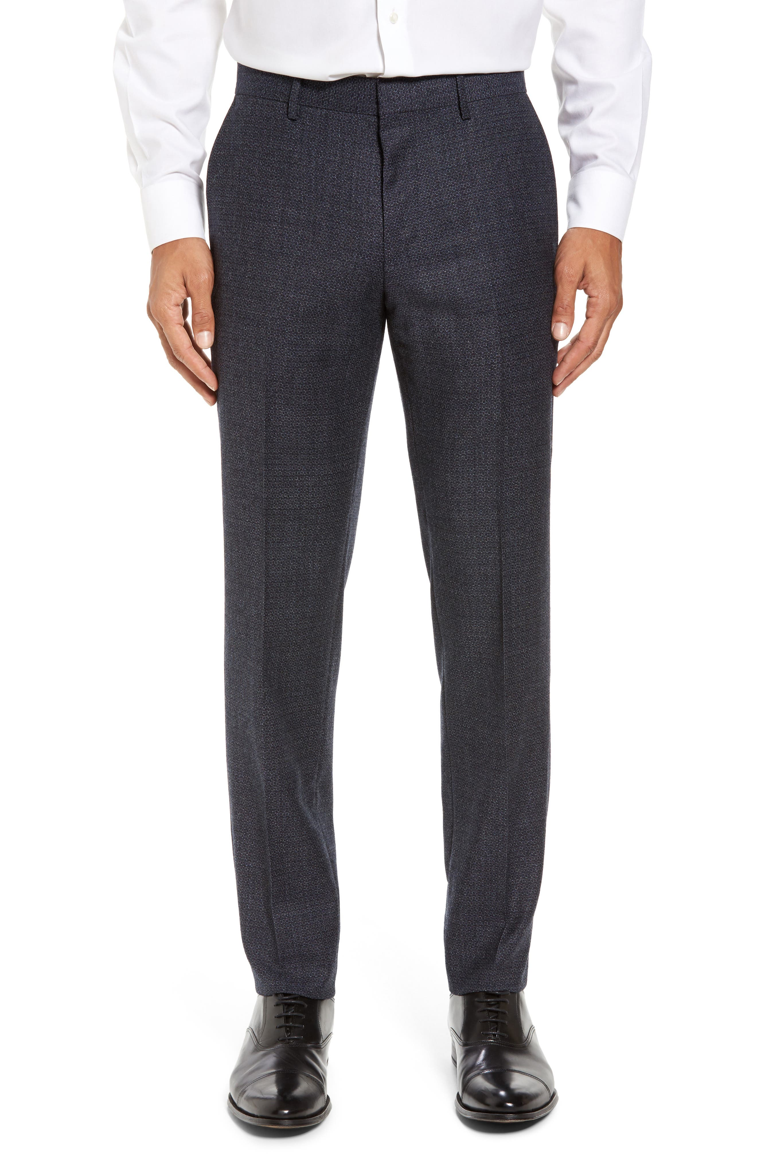 Giro Flat Front Solid Wool Trousers,                             Main thumbnail 2, color,