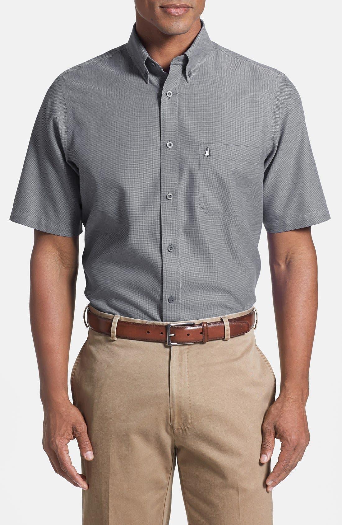 'Classic' Smartcare<sup>™</sup> Regular Fit Short Sleeve Cotton Sport Shirt,                             Main thumbnail 7, color,