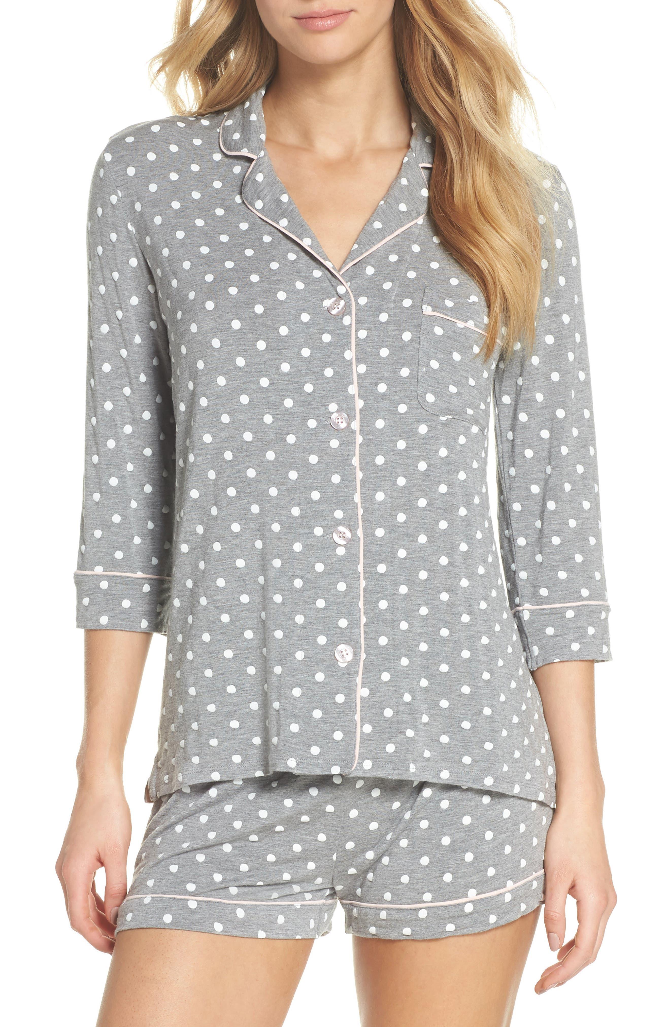 Modal Three-Quarter Sleeve Short Pajamas,                         Main,                         color, H GREY