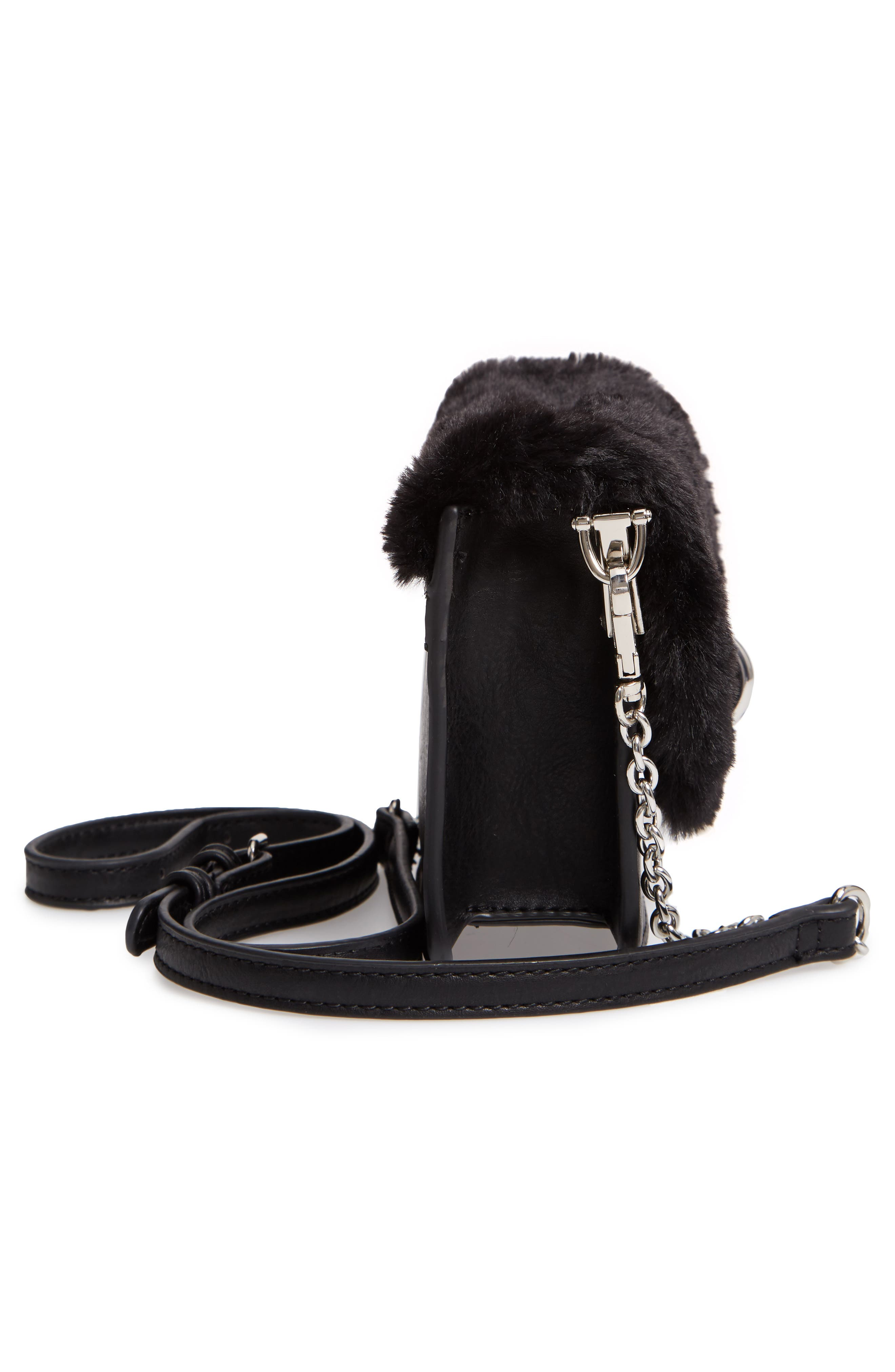 Lebra Faux Fur Crossbody Bag,                             Alternate thumbnail 5, color,                             BLACK