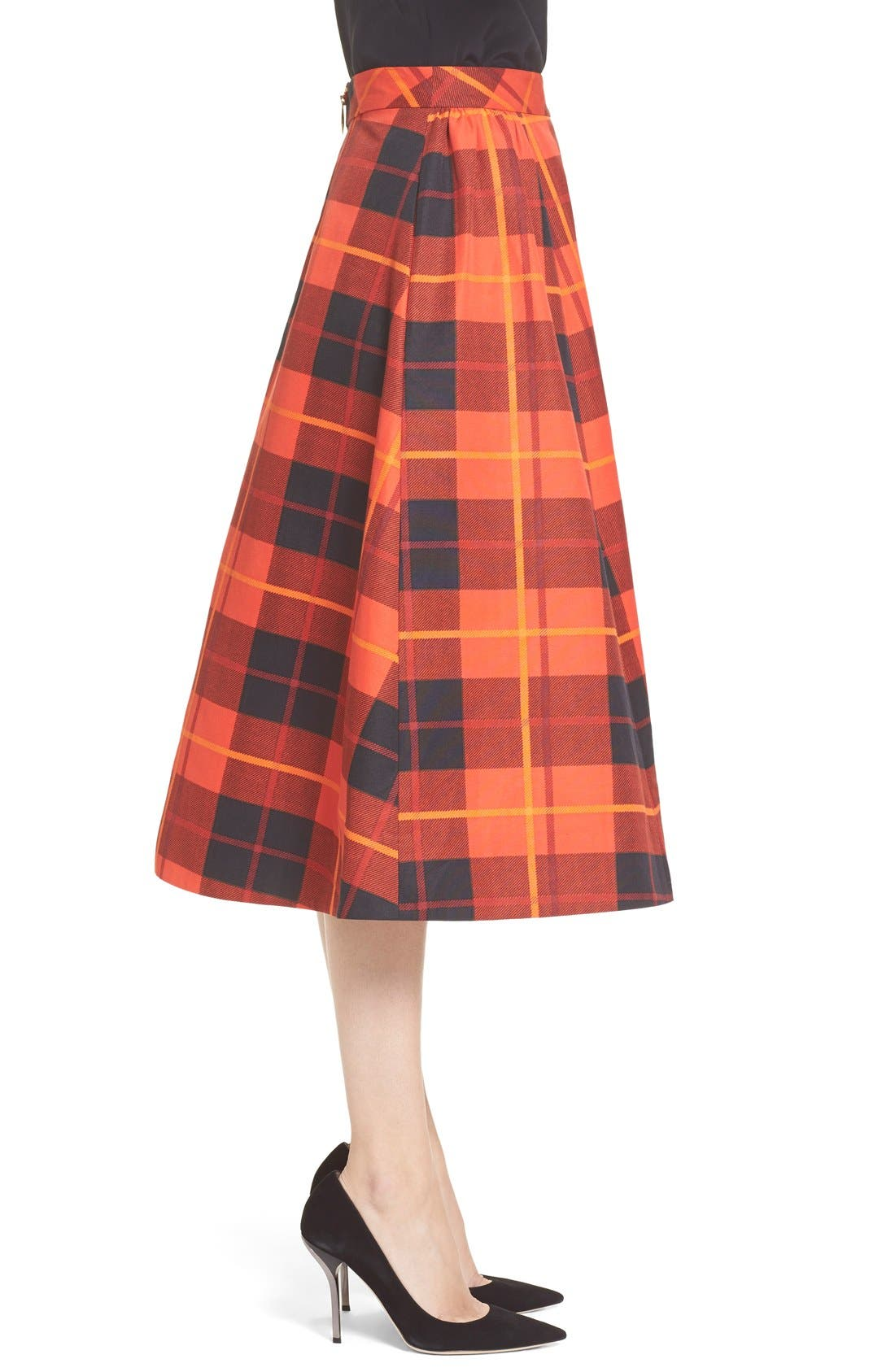 KATE SPADE NEW YORK,                             katespade new yorkwoodland plaid midi skirt,                             Alternate thumbnail 4, color,                             601