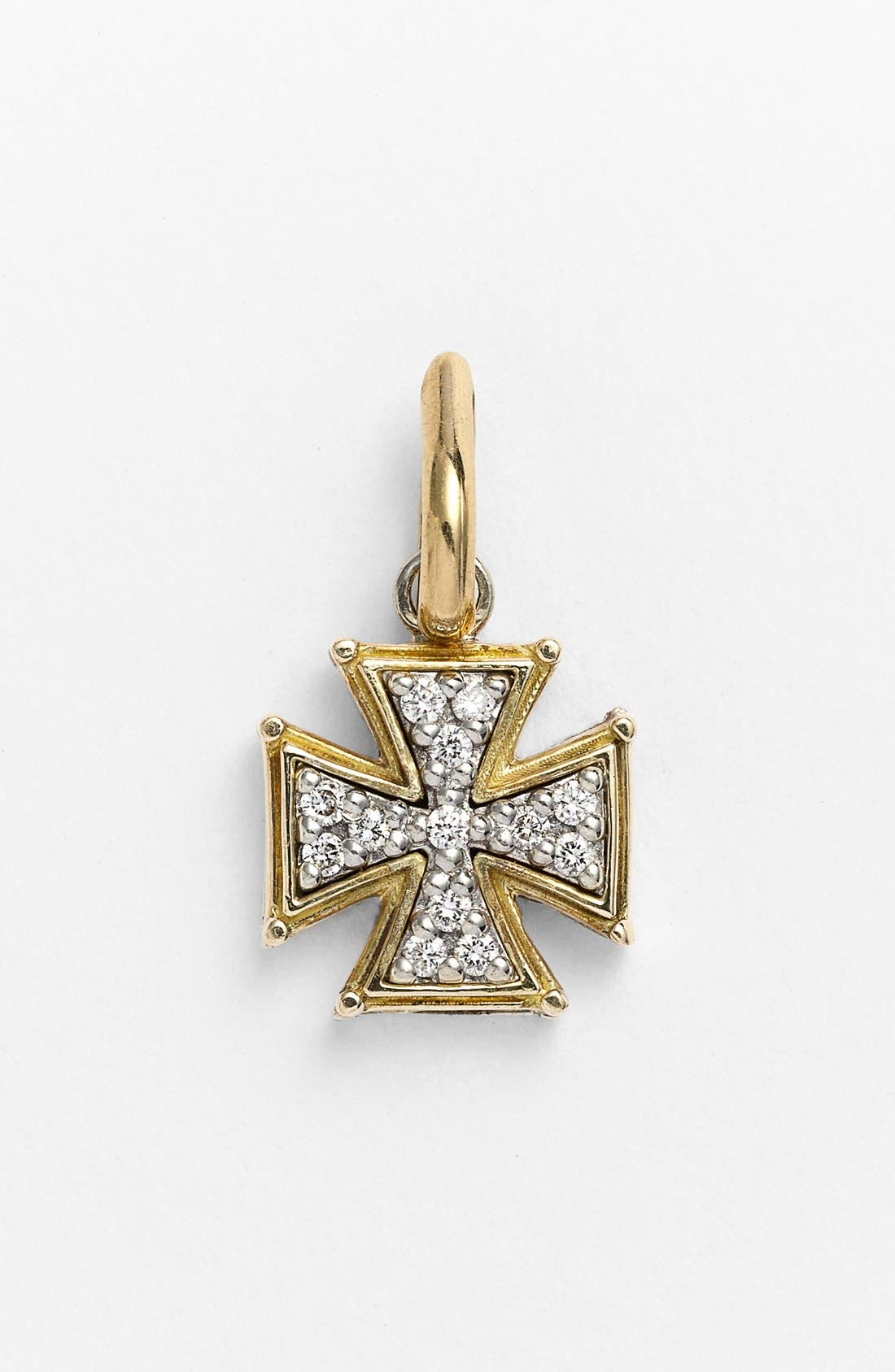 'Classics' Diamond Cross Charm,                         Main,                         color, SILVER/ GOLD