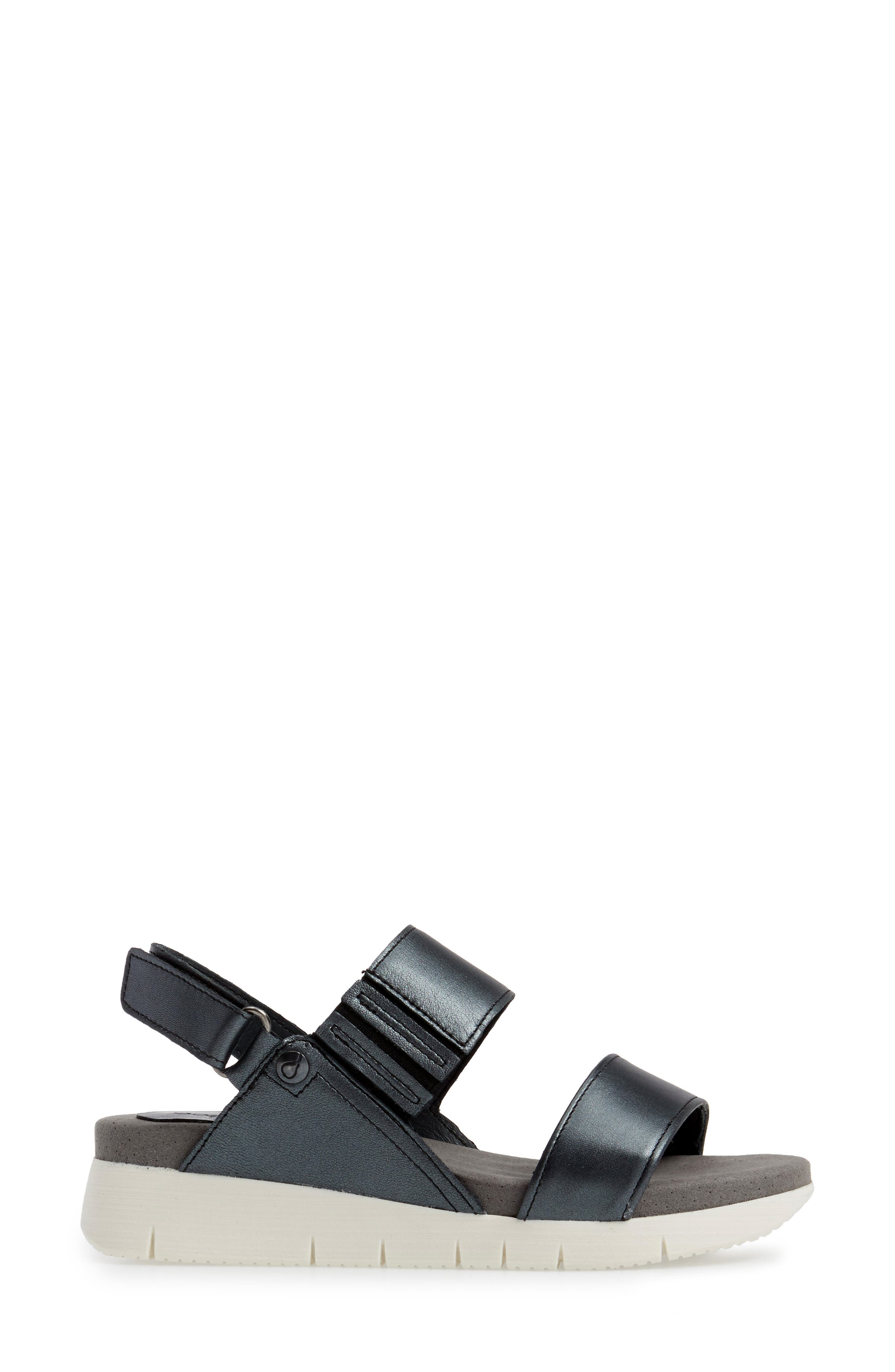 Payge Wedge Sandal,                             Alternate thumbnail 3, color,                             BLACK LEATHER