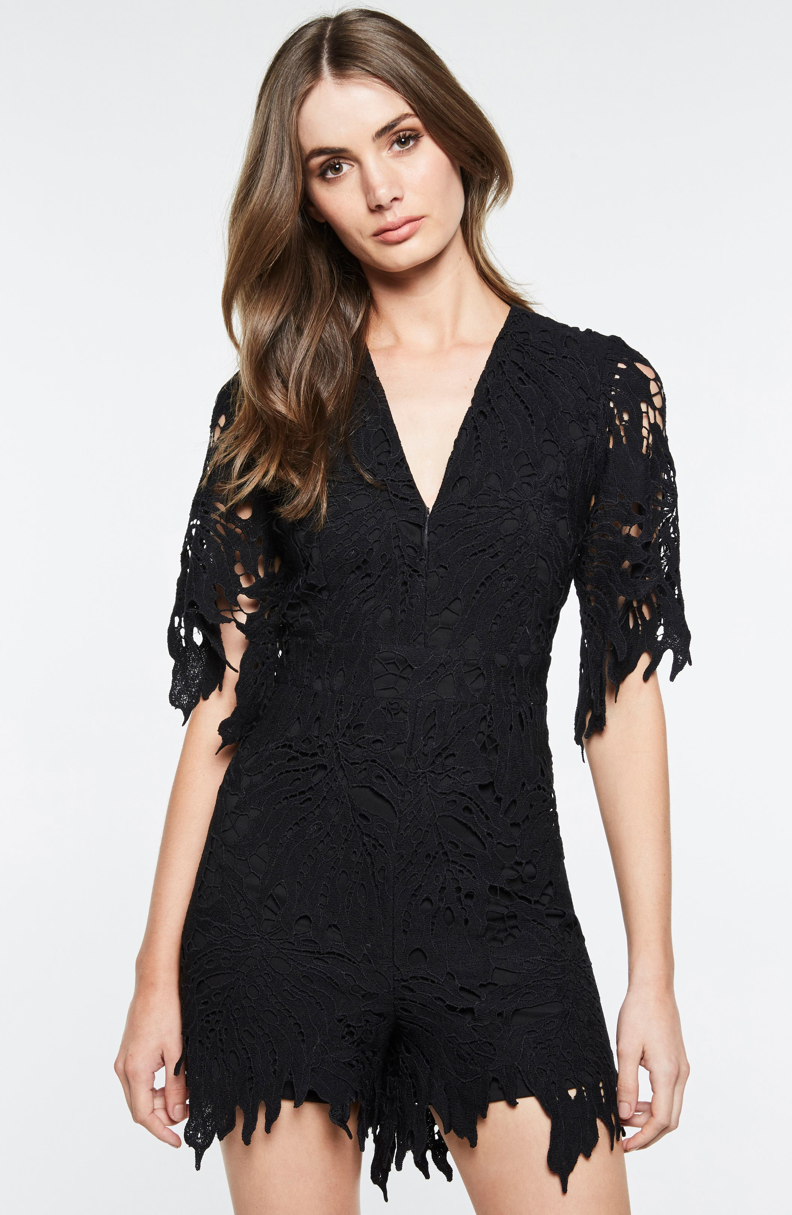 Amalfi Lace Romper,                             Alternate thumbnail 8, color,                             001