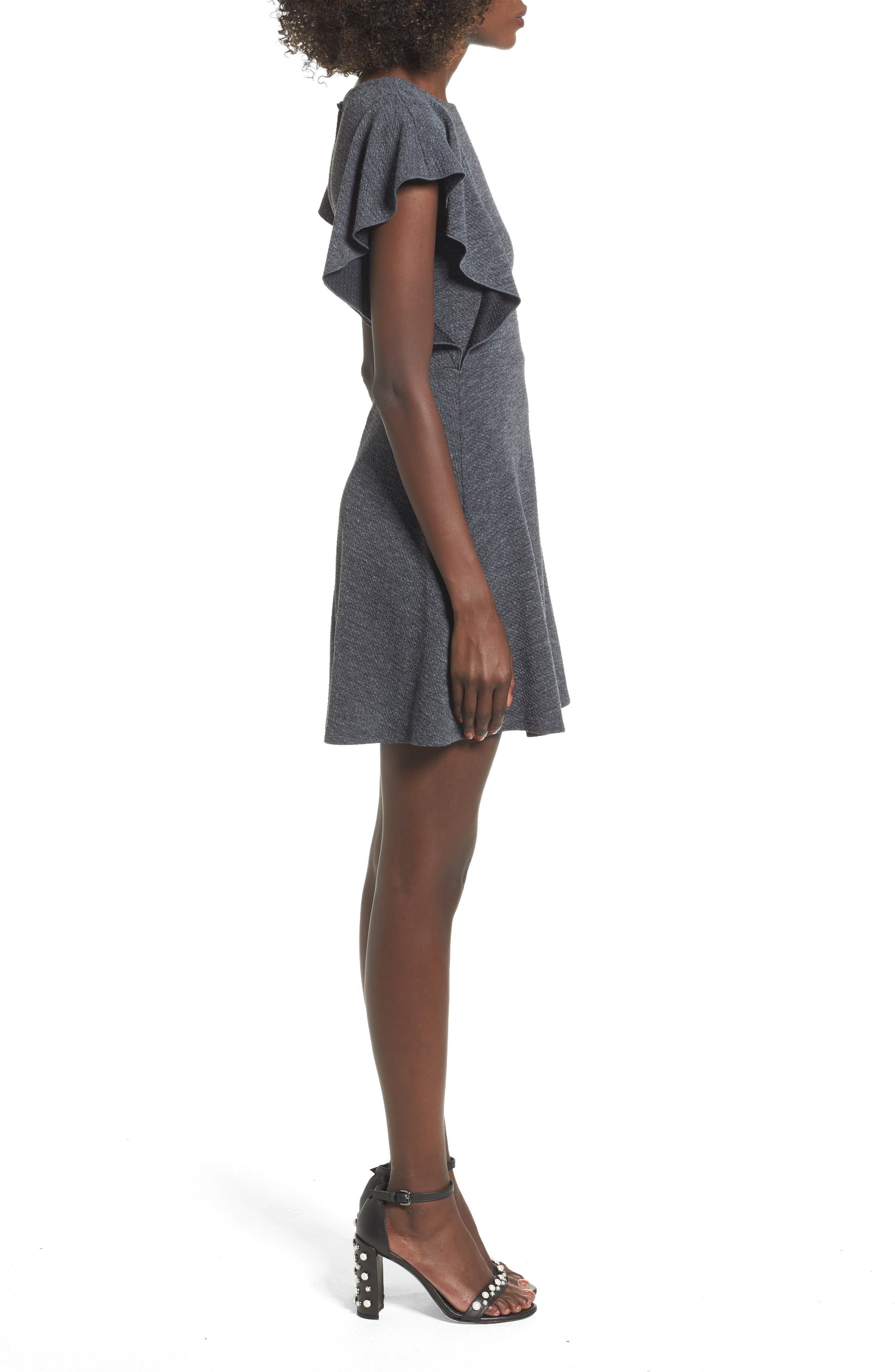 Ruffle Sleeve Knit Minidress,                             Alternate thumbnail 3, color,                             020