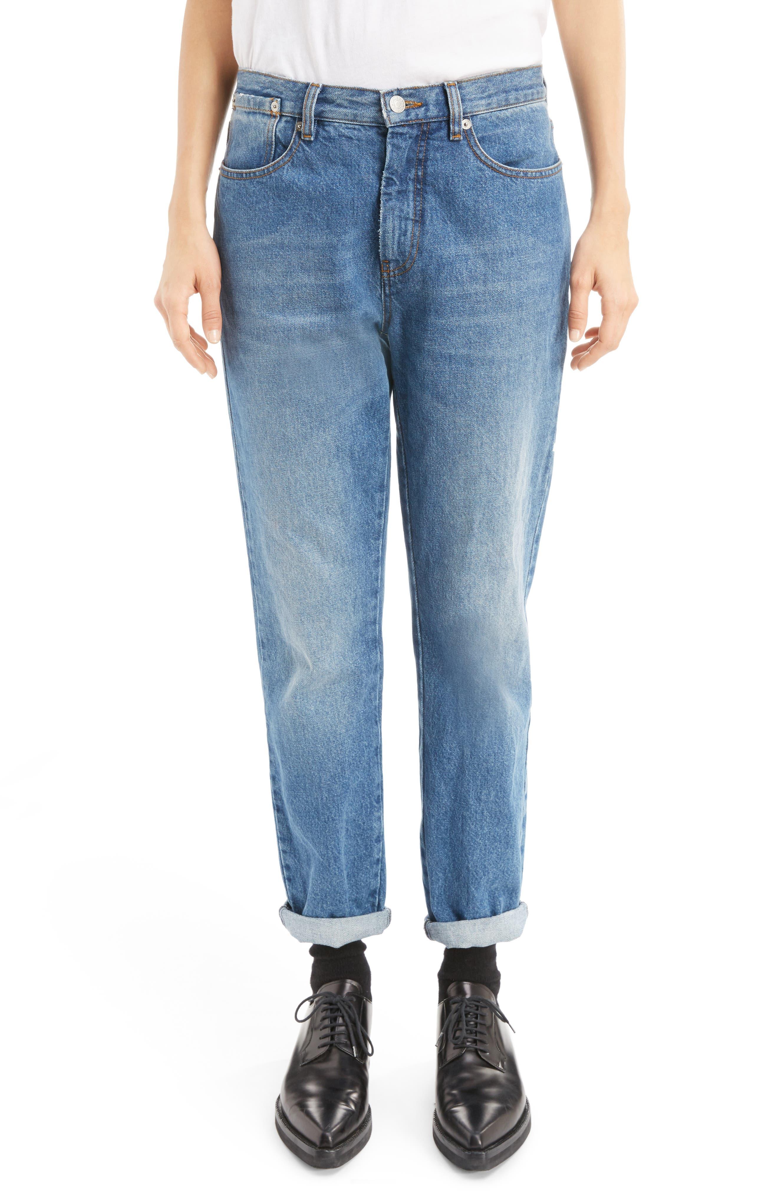 Cuffed Straight Leg Jeans,                             Main thumbnail 1, color,                             400