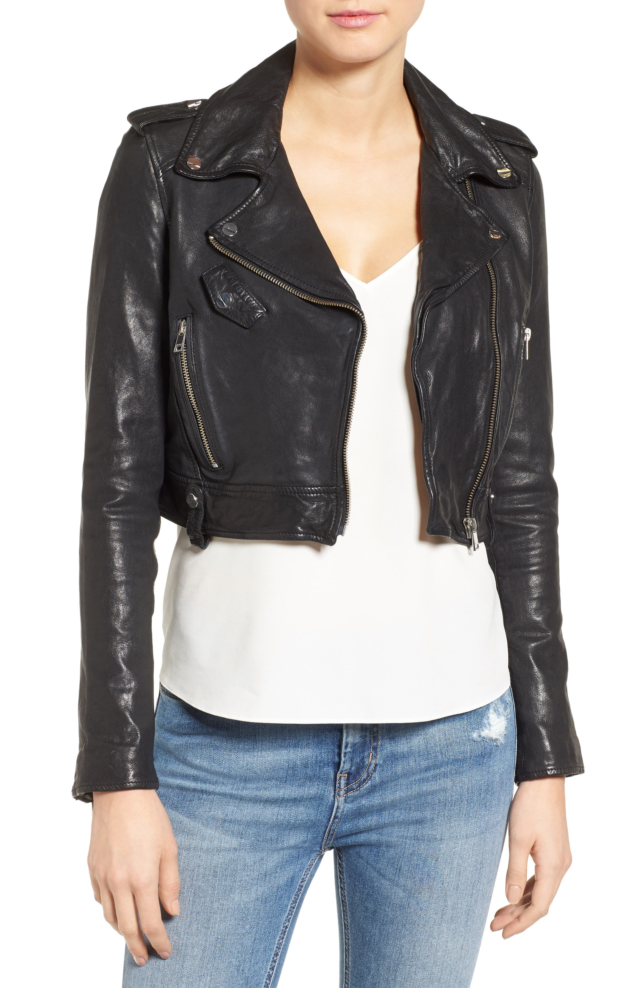 Washed Leather Crop Moto Jacket,                             Main thumbnail 1, color,                             001