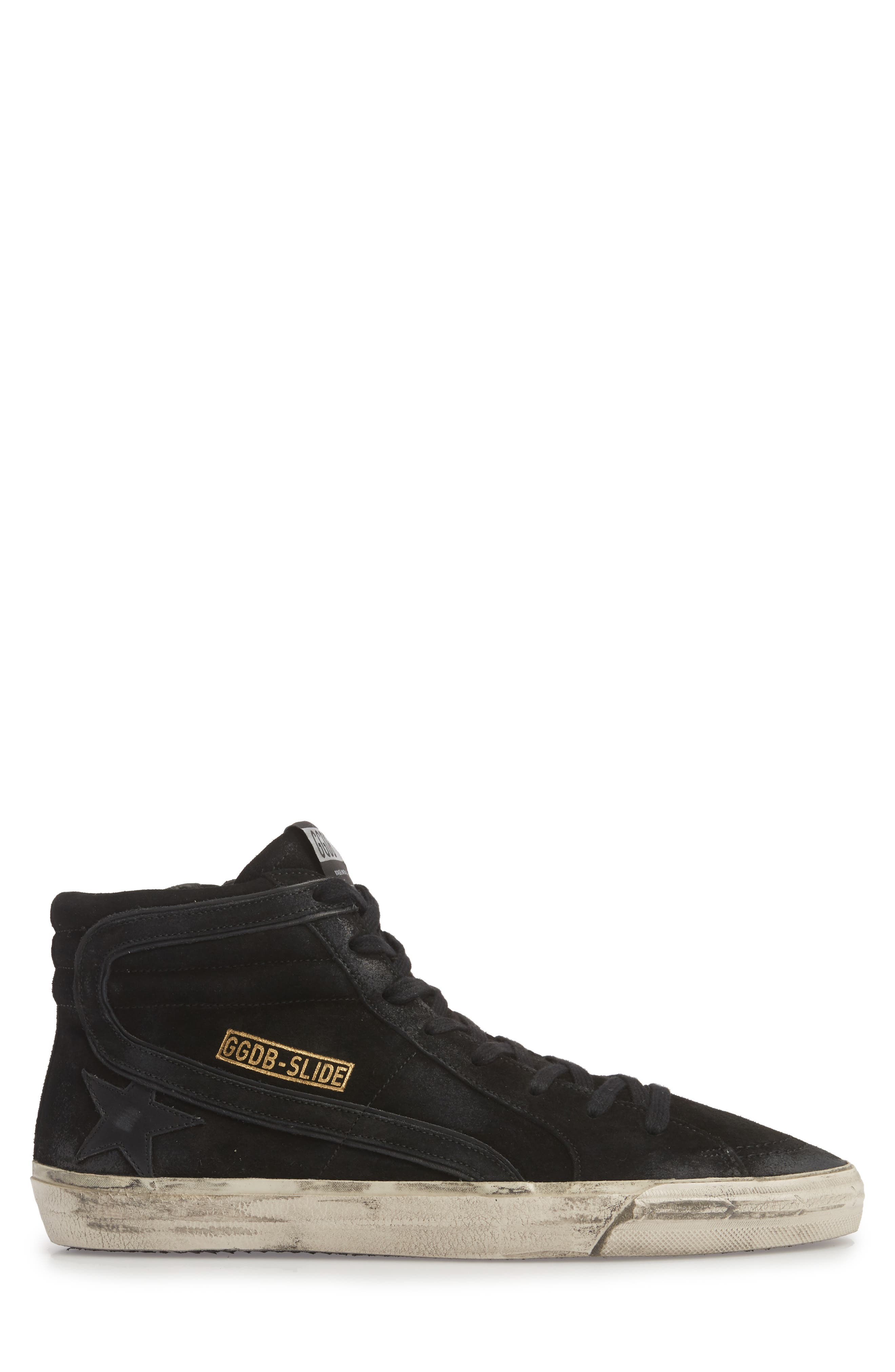 'Slide' Sneaker,                             Alternate thumbnail 3, color,                             BLACK SUEDE