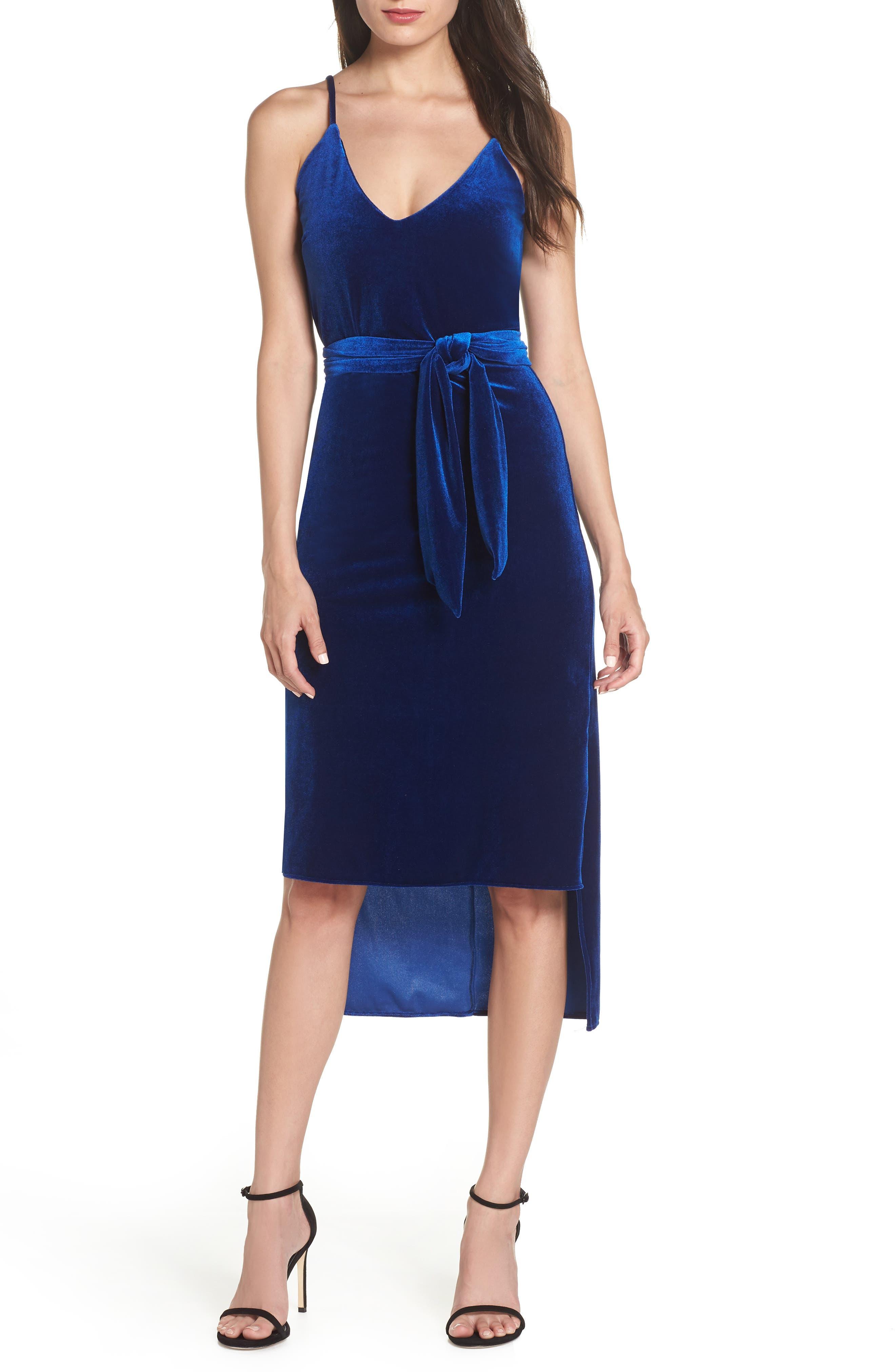 Nsr Diana Velvet Tie Waist High/low Dress
