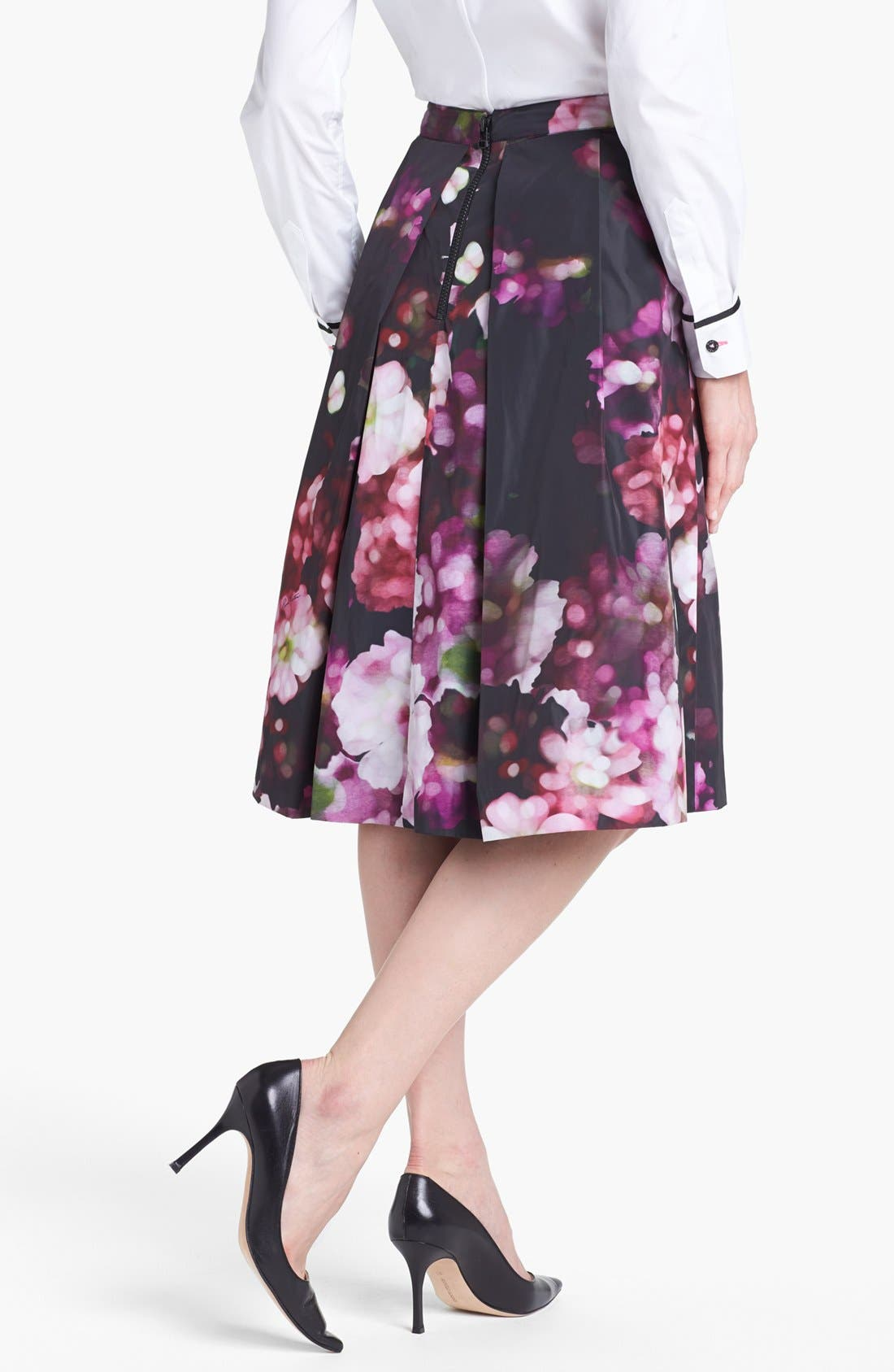 Floral Print Pleated Midi Skirt,                             Alternate thumbnail 4, color,                             540