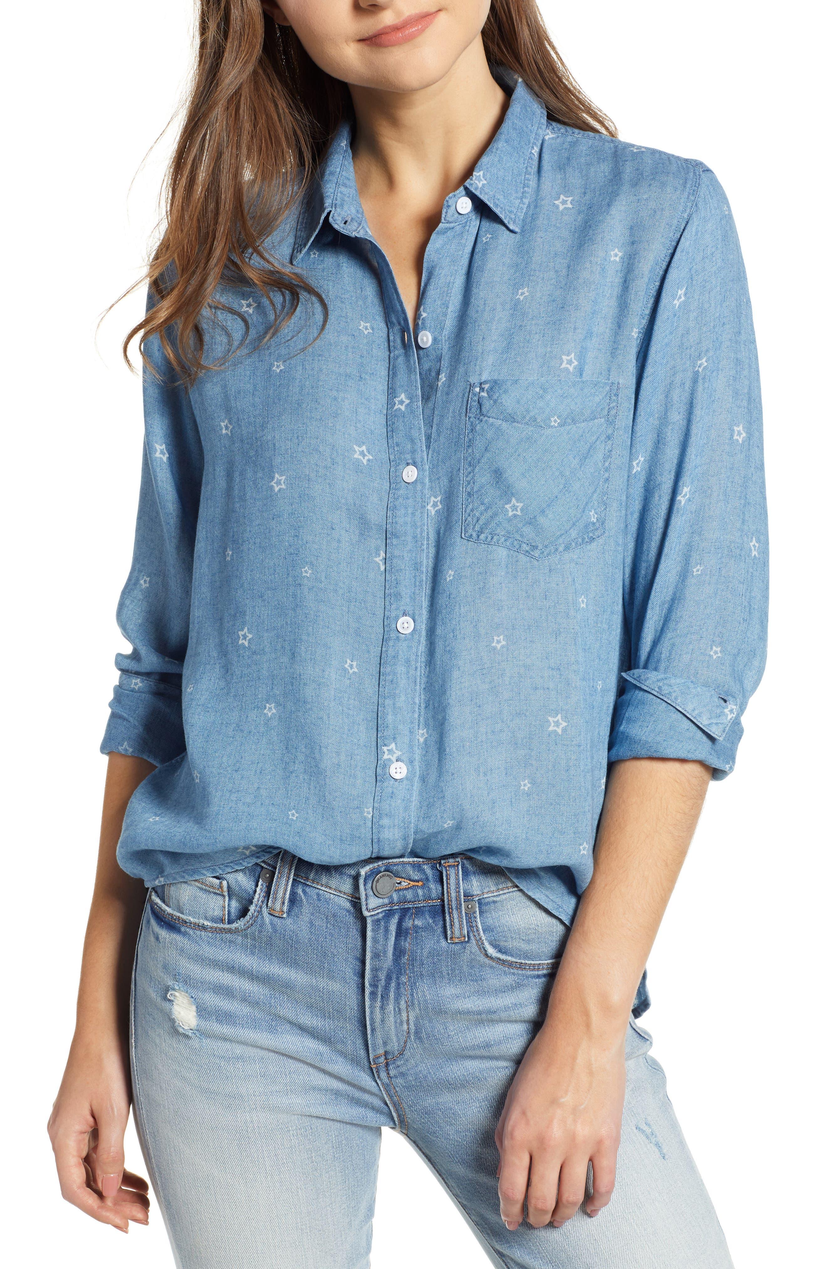 Ingrid Chambray Shirt,                         Main,                         color, INDIGO STARS