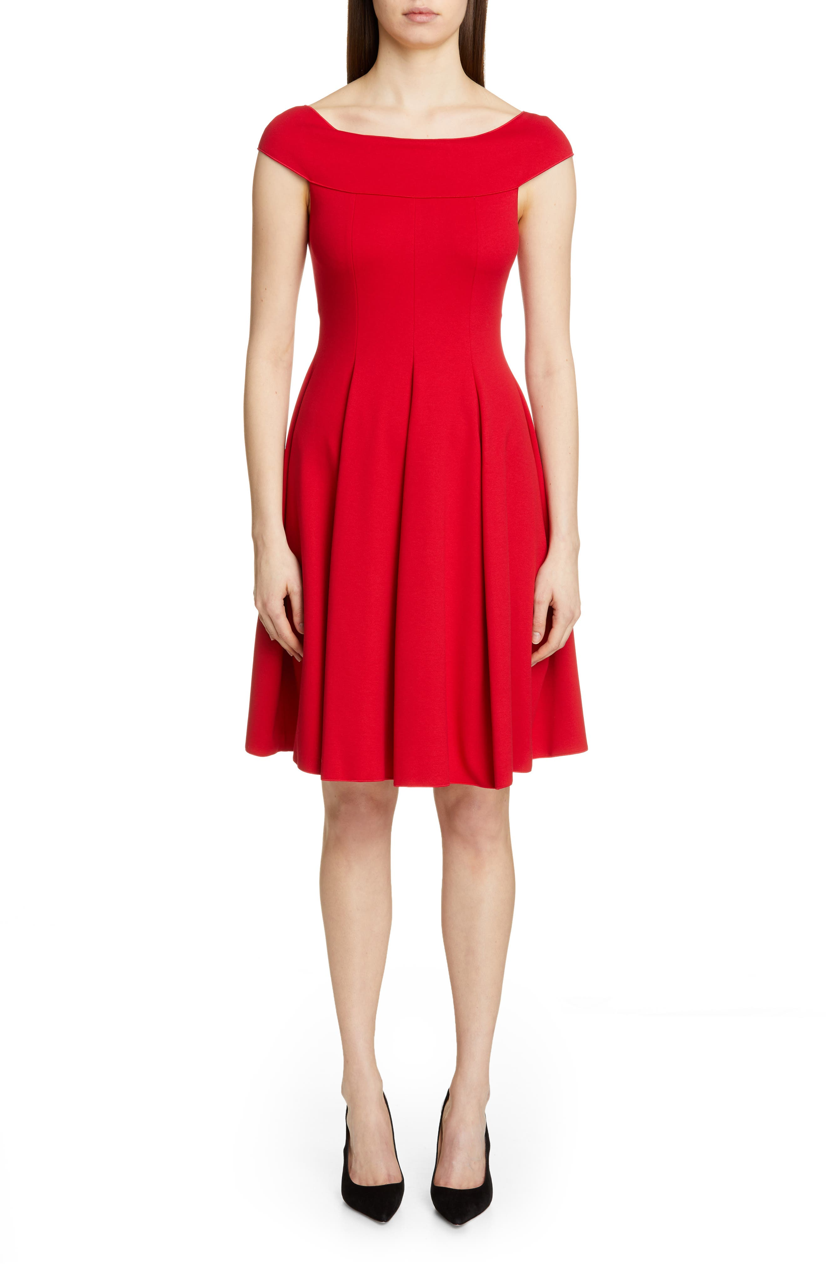 Emporio Armani Off The Shoulder A-Line Dress, US / 42 IT - Red