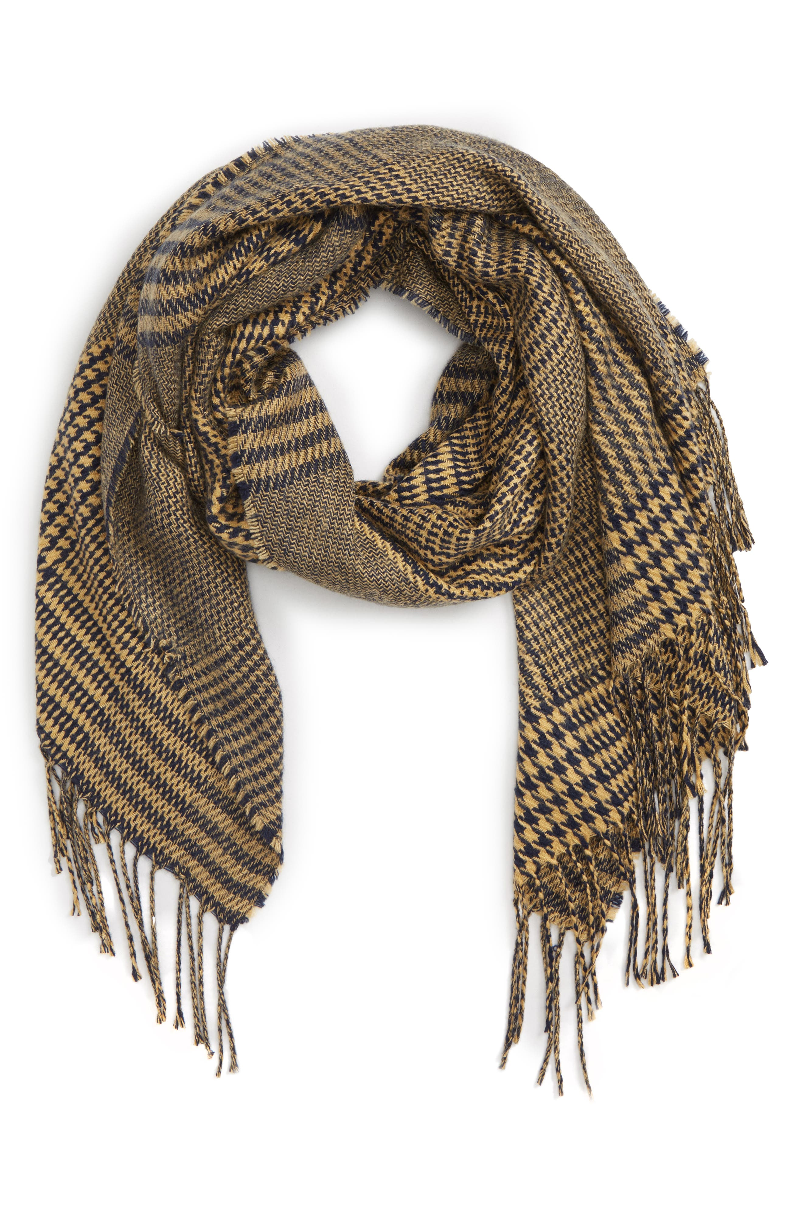 Mixed Houndstooth Scarf,                             Main thumbnail 1, color,                             NAVY CAMEL