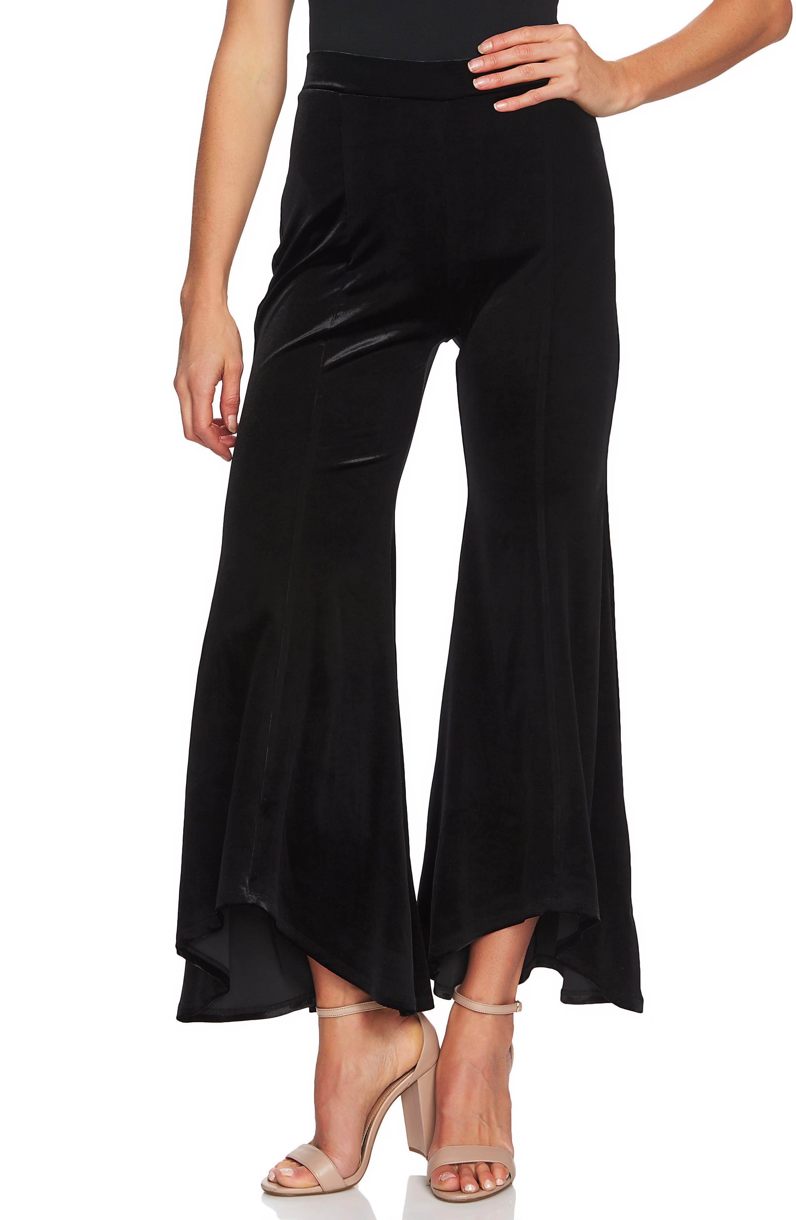 Velveteen Flare Leg Pants,                         Main,                         color, RICH BLACK